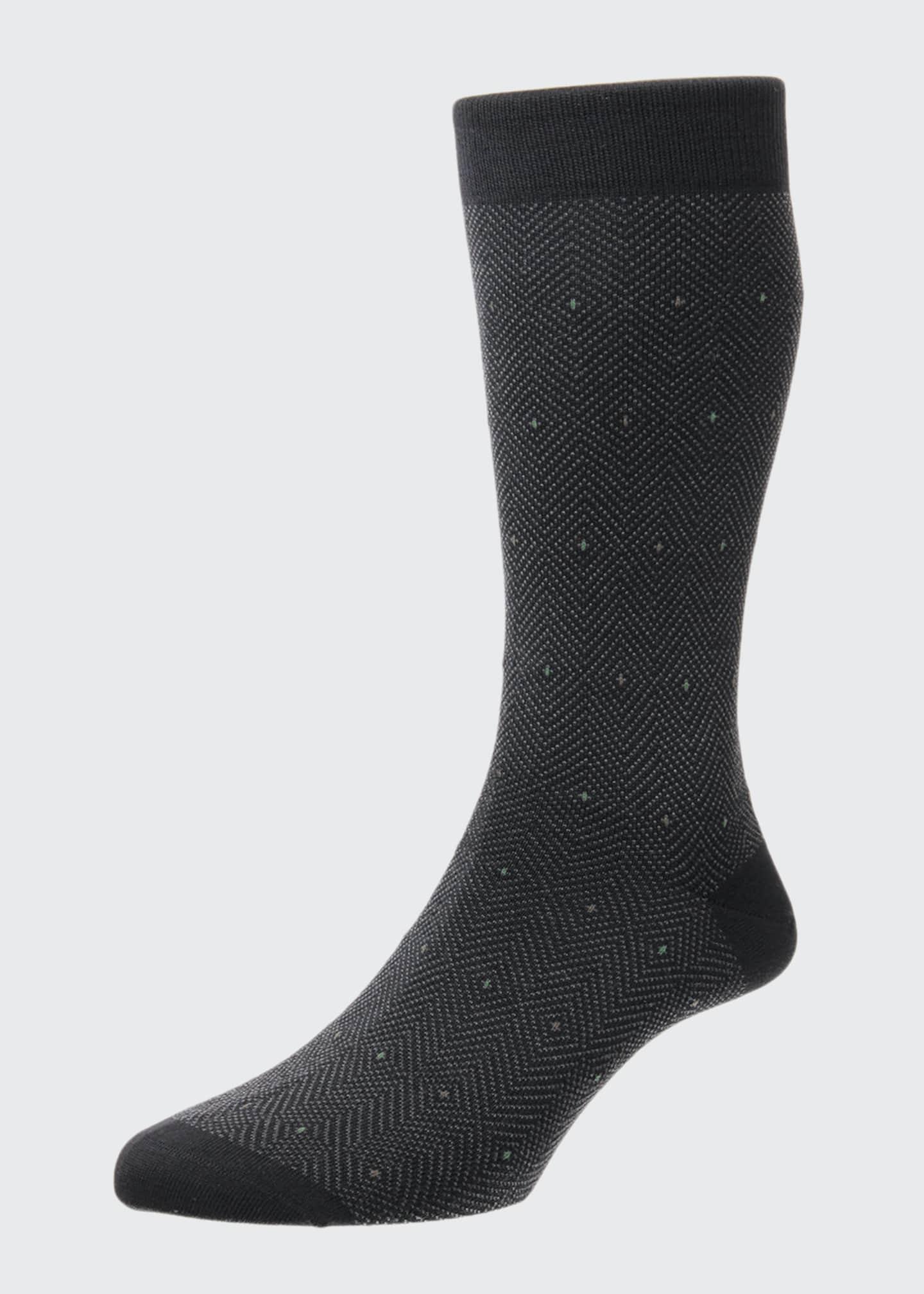 Pantherella Men's Hobart Merino Royale Herringbone Diamond Socks