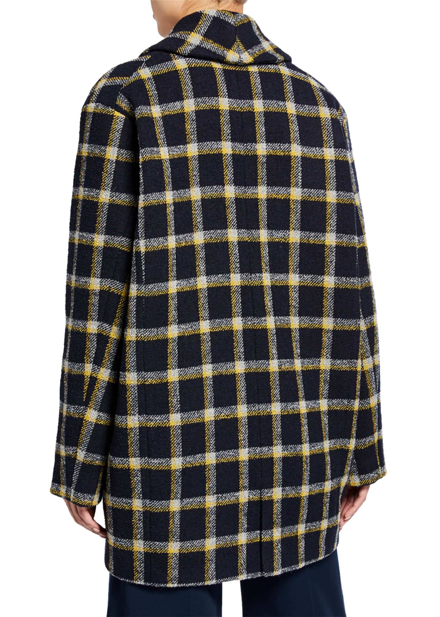 Image 2 of 3: Shawl-Collar Check Cocoon Coat