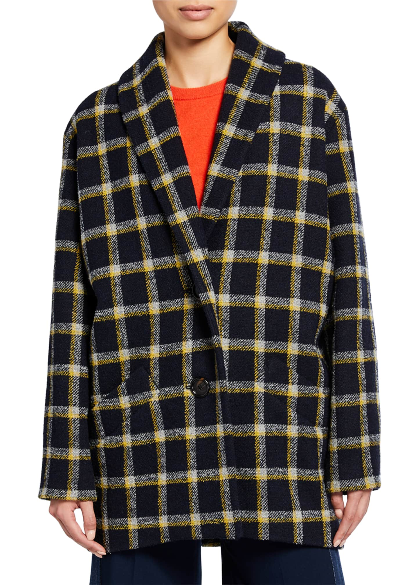 Image 3 of 3: Shawl-Collar Check Cocoon Coat
