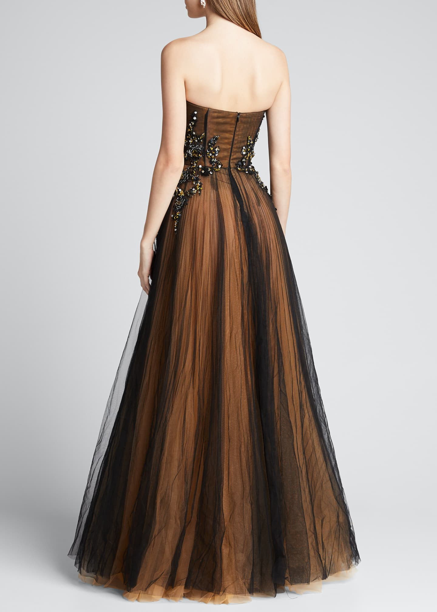 Image 2 of 5: Strapless Embroidered Gown with Marigold Underlay