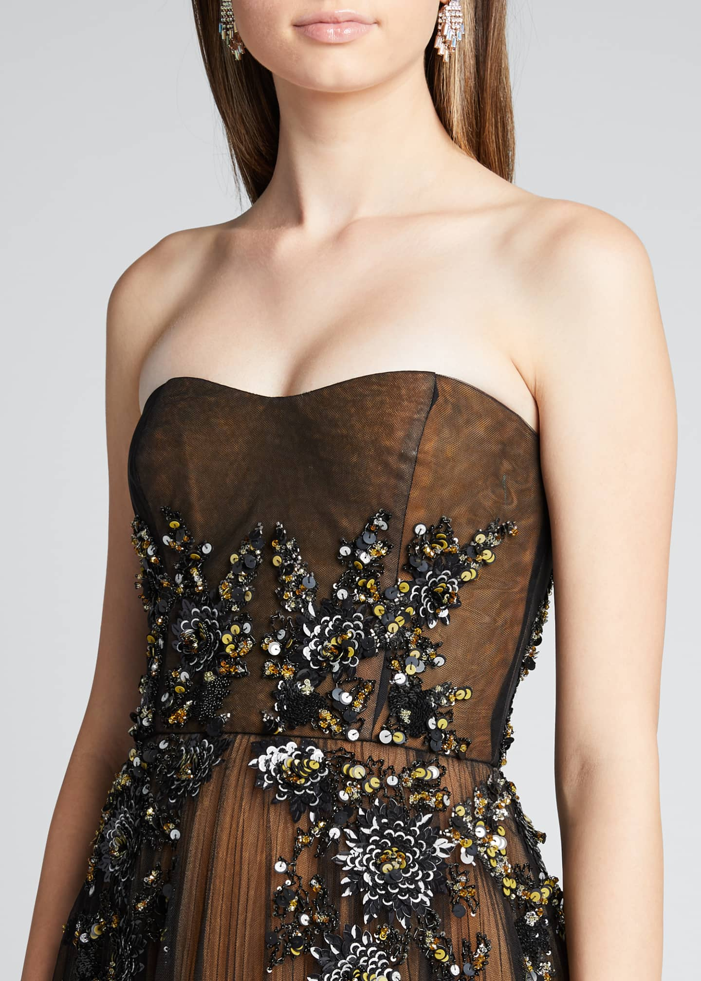 Image 4 of 5: Strapless Embroidered Gown with Marigold Underlay