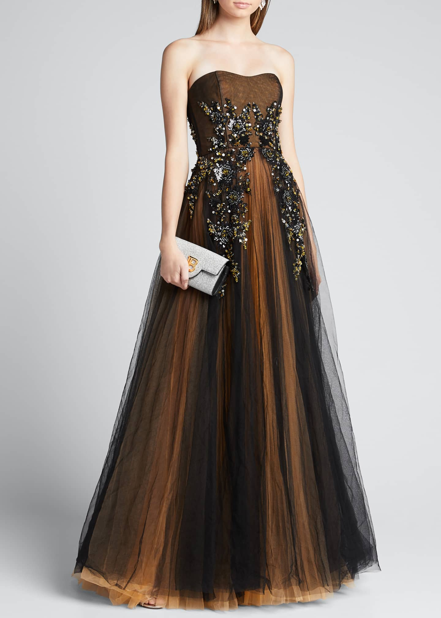J. Mendel Strapless Embroidered Gown with Marigold Underlay