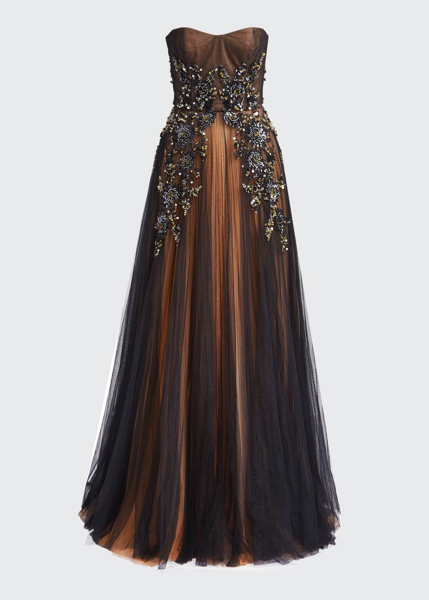 Image 5 of 5: Strapless Embroidered Gown with Marigold Underlay