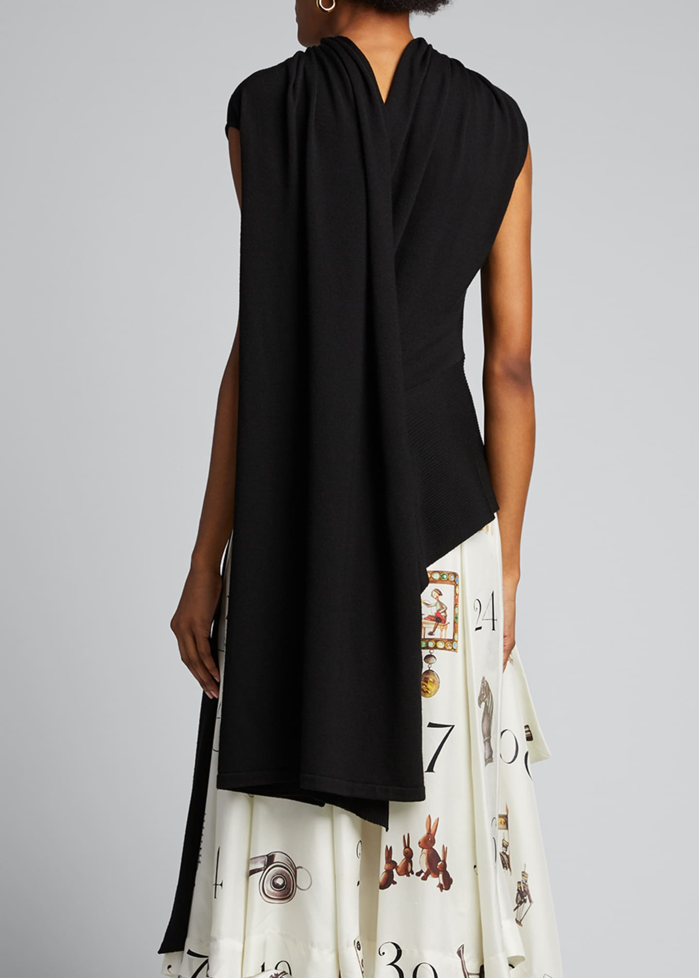 Image 2 of 5: Sleeveless Shifted Shoulder Draped Knit Sweater