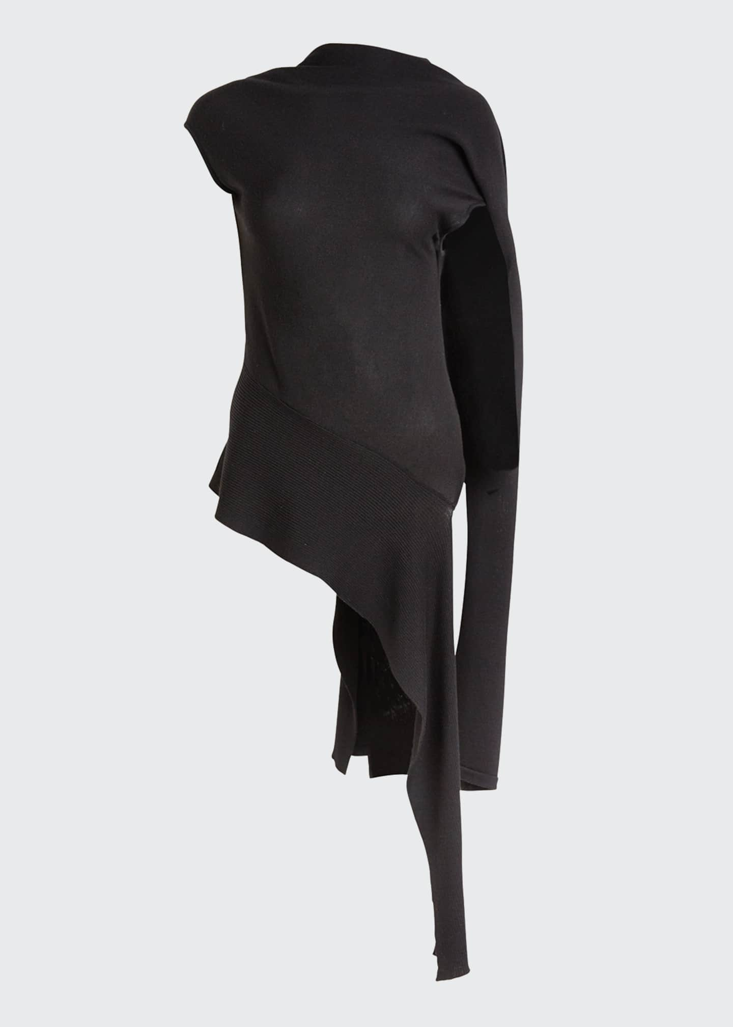 Image 5 of 5: Sleeveless Shifted Shoulder Draped Knit Sweater