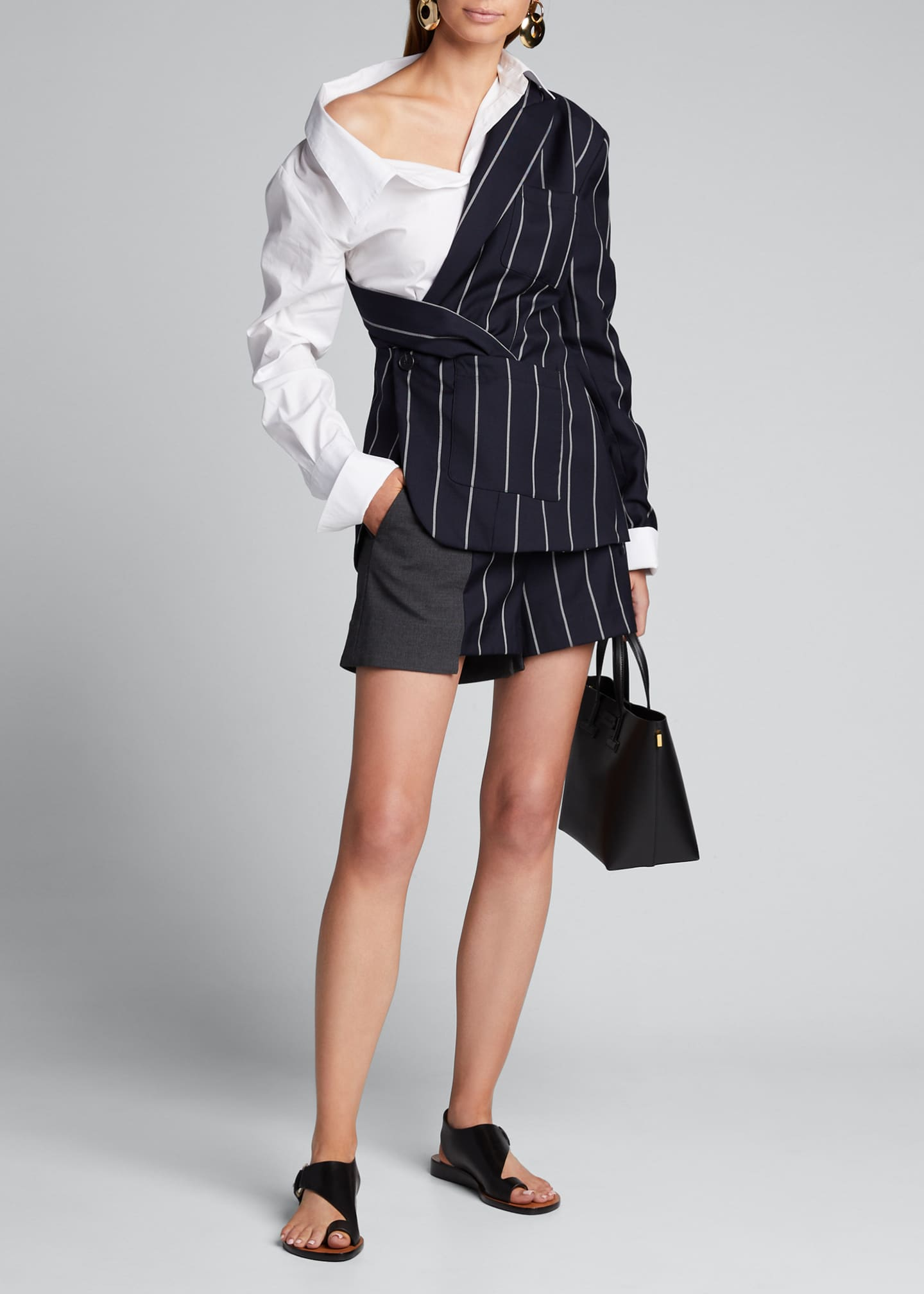 Monse Patchwork-Pinstriped Extended Shorts