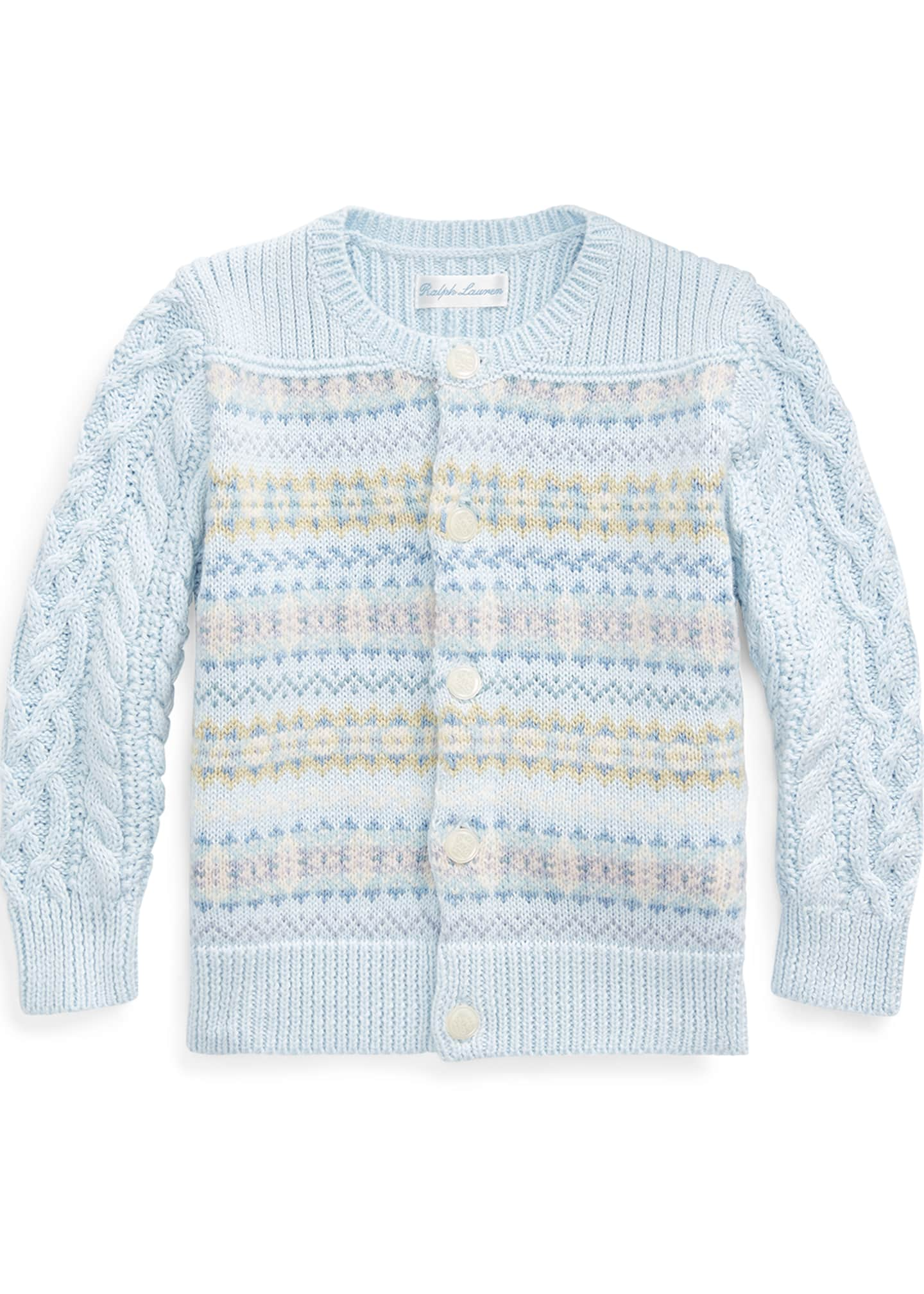 Ralph Lauren Childrenswear Fair Isle Cable-Knit Cotton/Wool