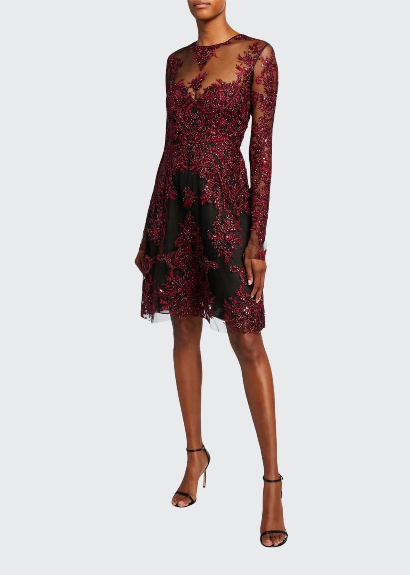 Naeem Khan Embroidered Illusion Cocktail Dress