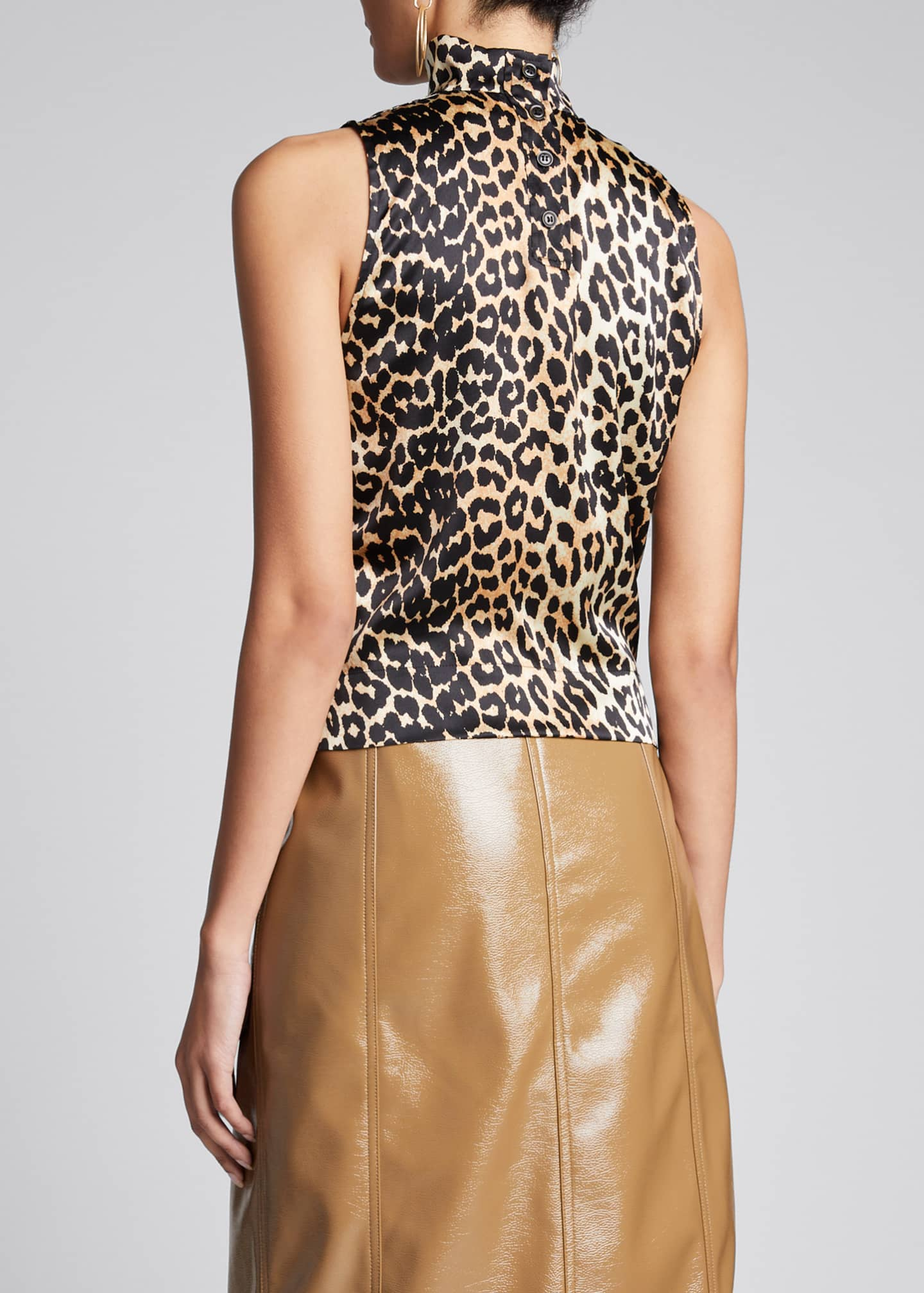 Image 2 of 5: Stretch Satin Leopard-Print High-Neck Blouse