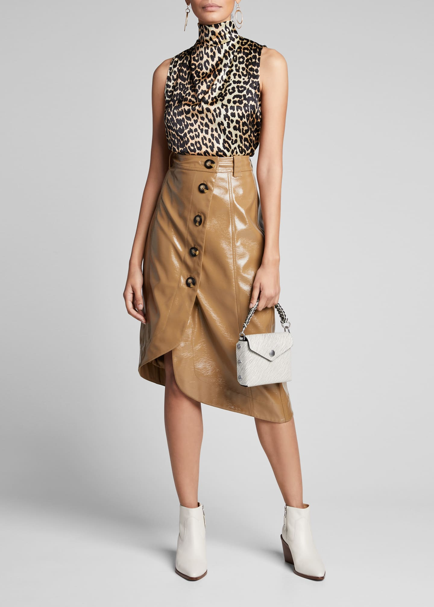 Image 1 of 5: Stretch Satin Leopard-Print High-Neck Blouse