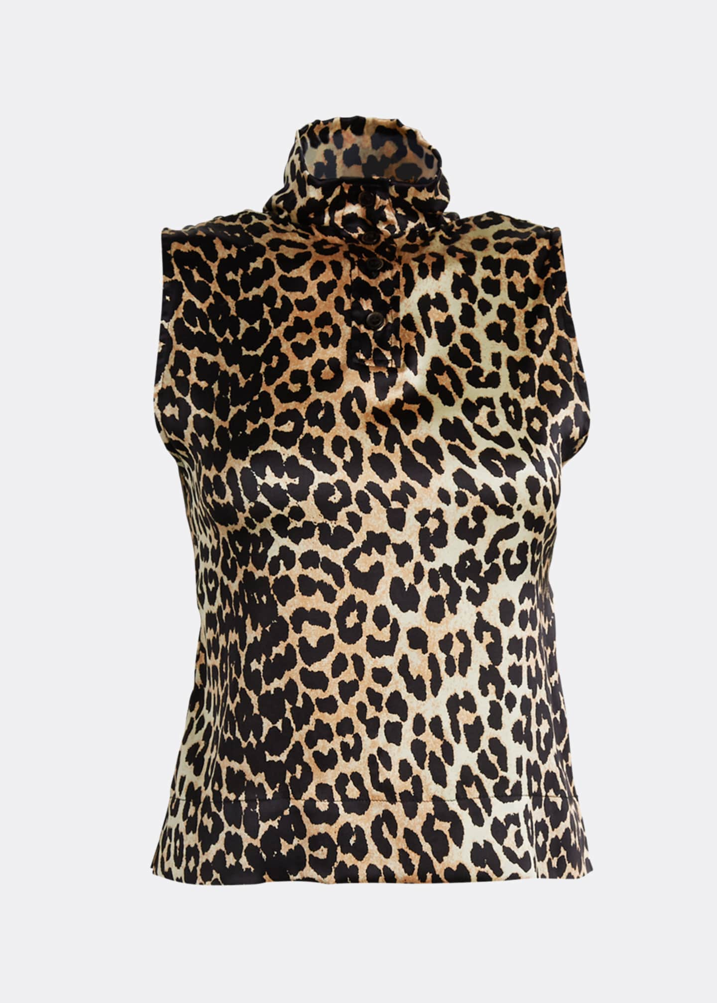 Image 5 of 5: Stretch Satin Leopard-Print High-Neck Blouse