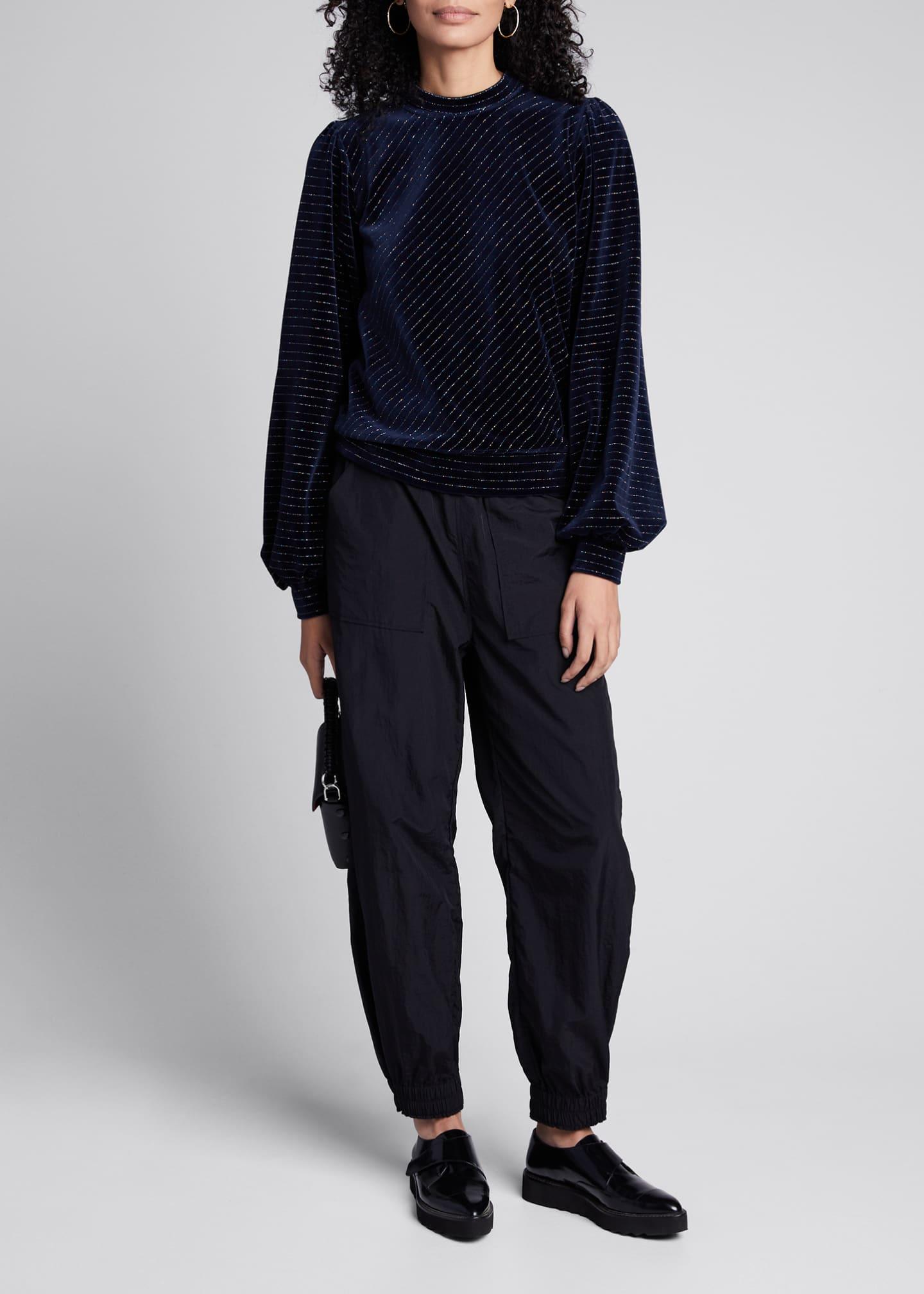 Ganni Velvet Metallic Blouson-Sleeve Sweater