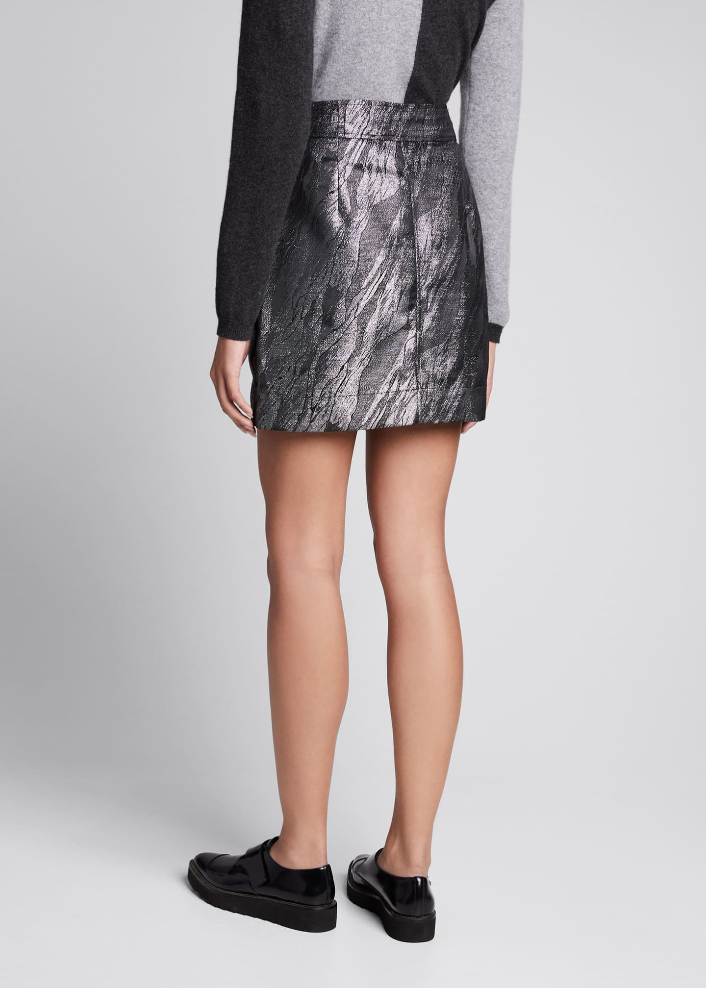 Image 2 of 4: Metallic Jacquard Asymmetrical Skirt