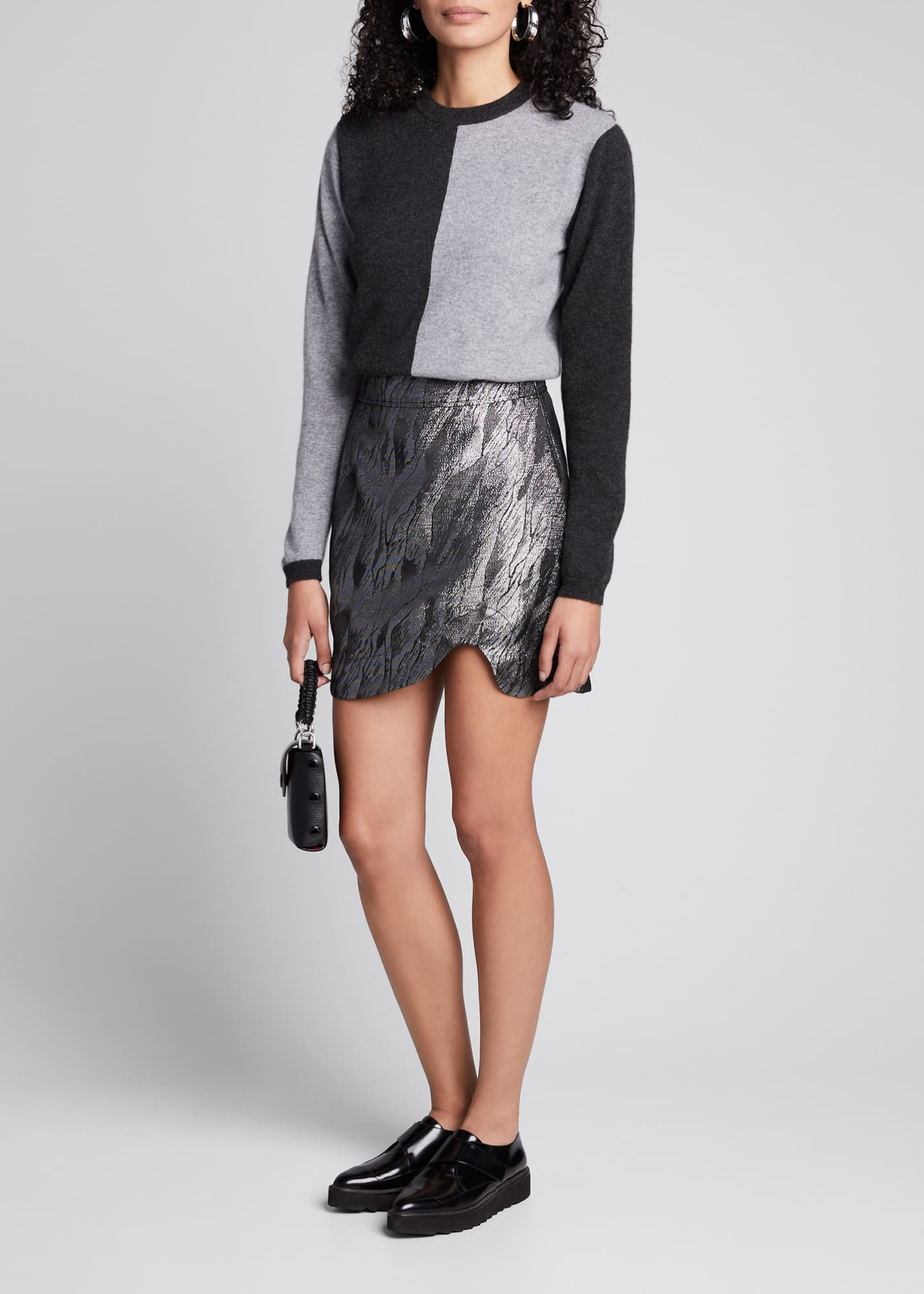 Image 1 of 4: Metallic Jacquard Asymmetrical Skirt