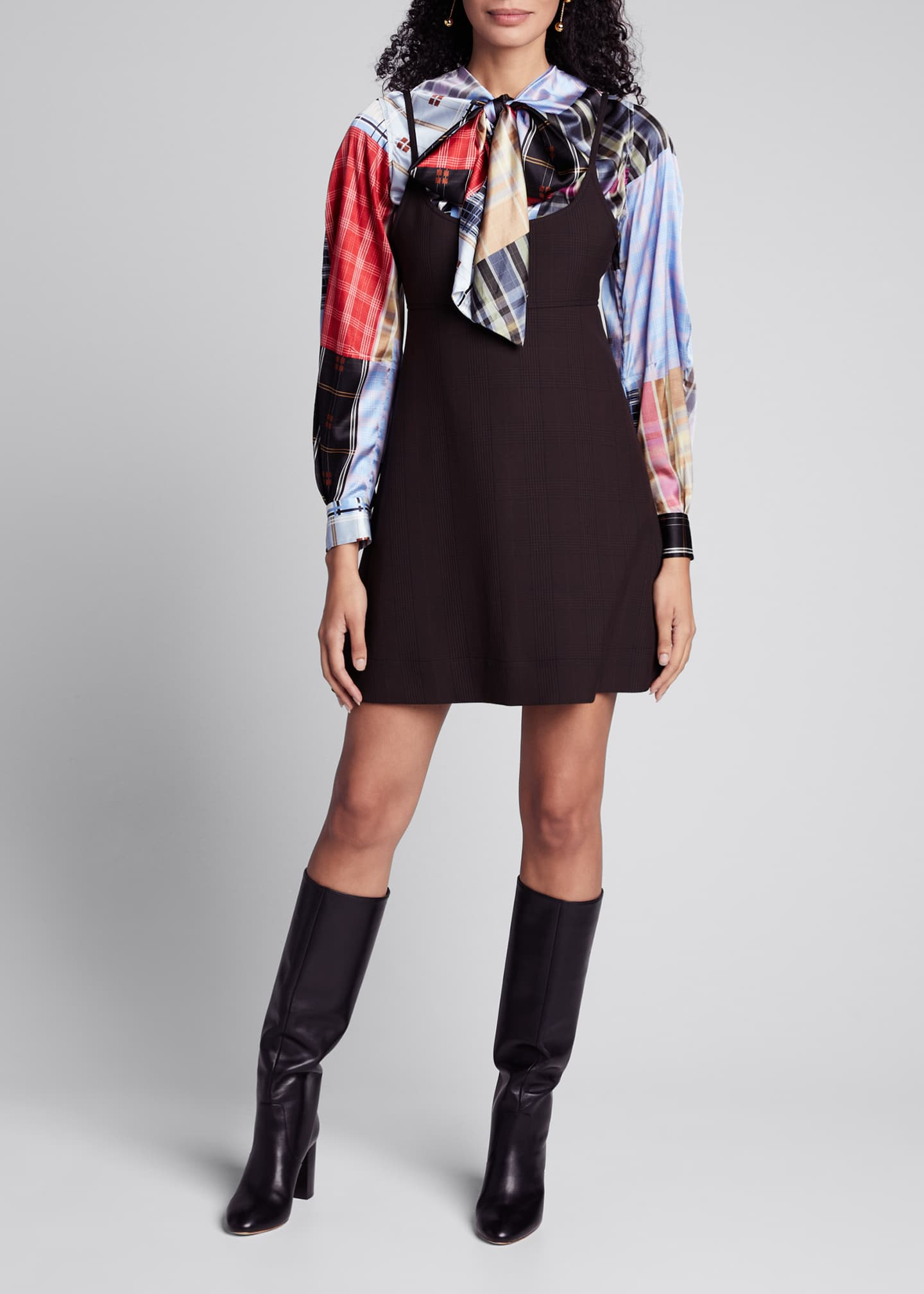 Ganni Check Suiting Scoop-Neck Mini Dress