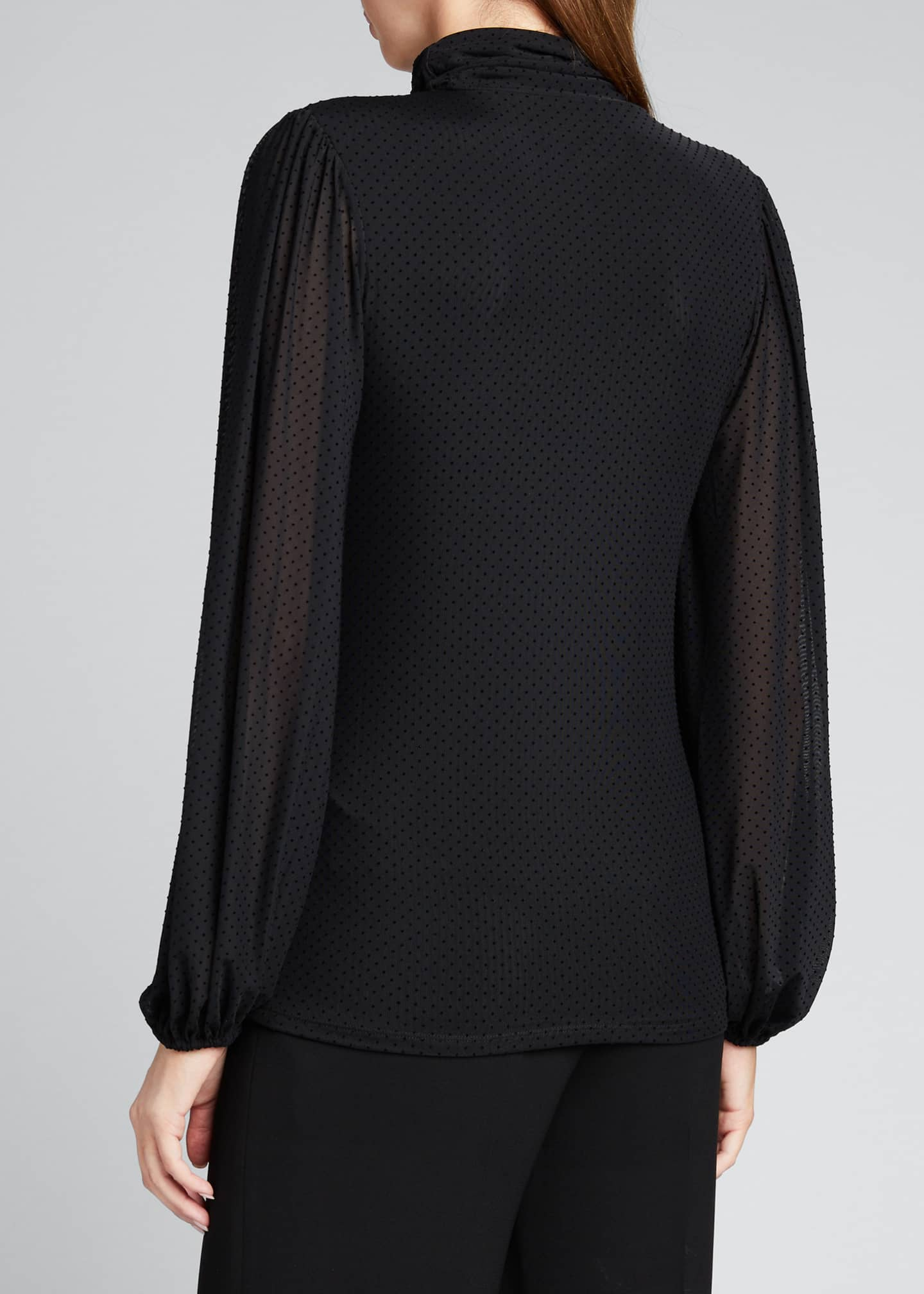 Image 2 of 5: Dotted Mesh Turtleneck Long-Sleeve Blouse