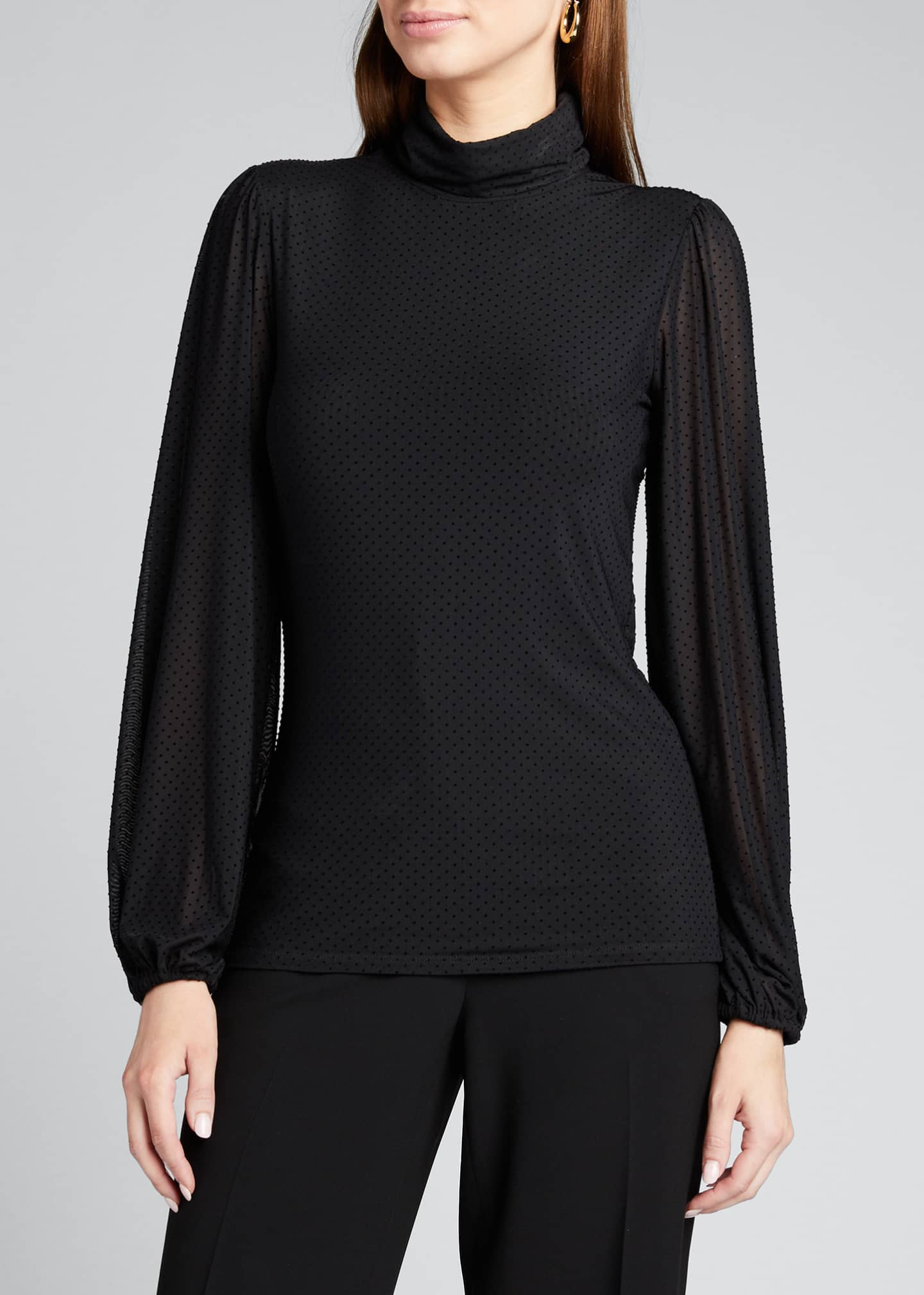 Image 3 of 5: Dotted Mesh Turtleneck Long-Sleeve Blouse