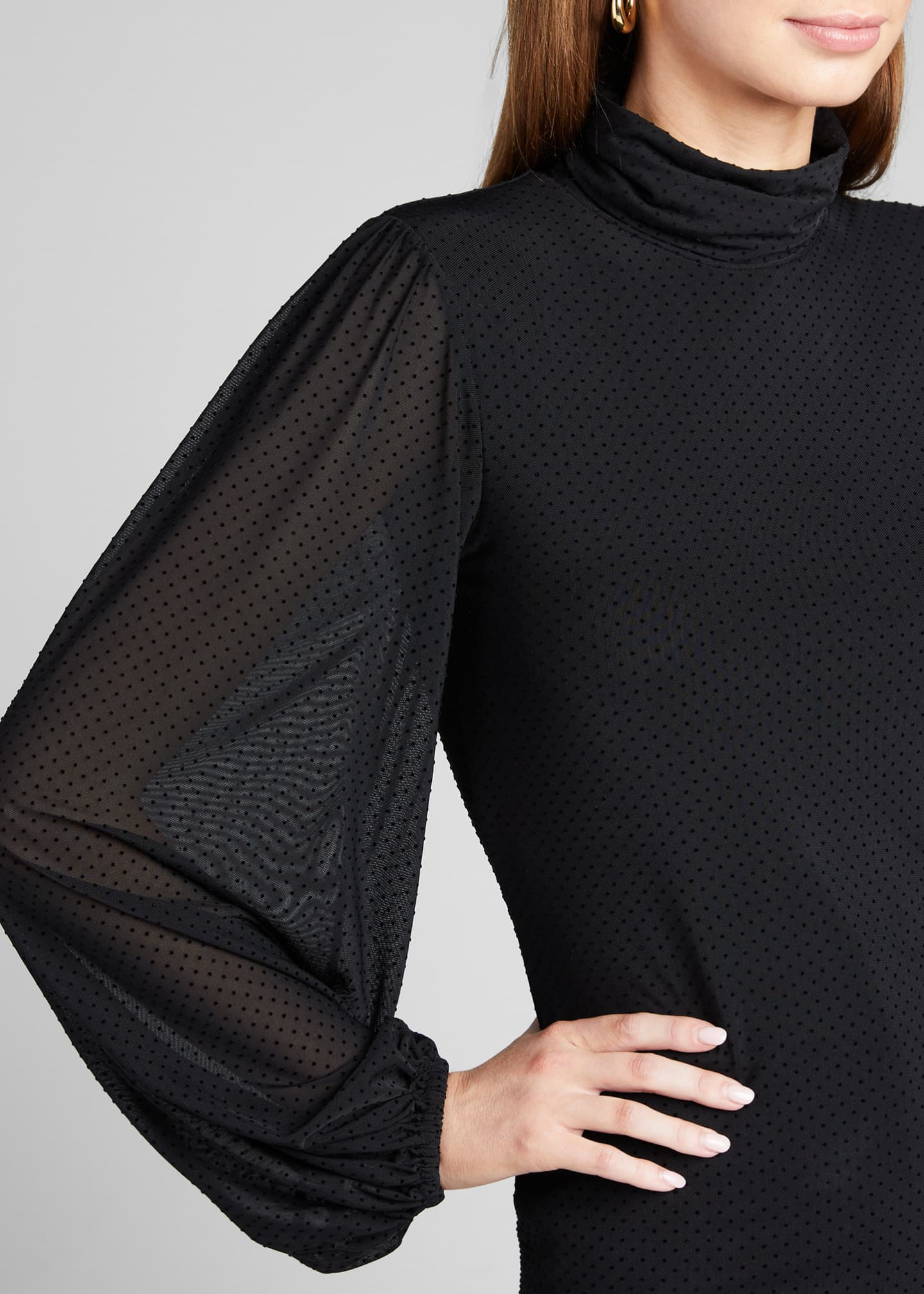 Image 4 of 5: Dotted Mesh Turtleneck Long-Sleeve Blouse