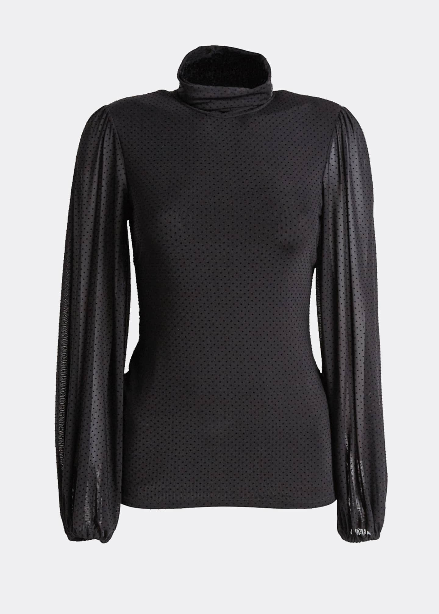 Image 5 of 5: Dotted Mesh Turtleneck Long-Sleeve Blouse