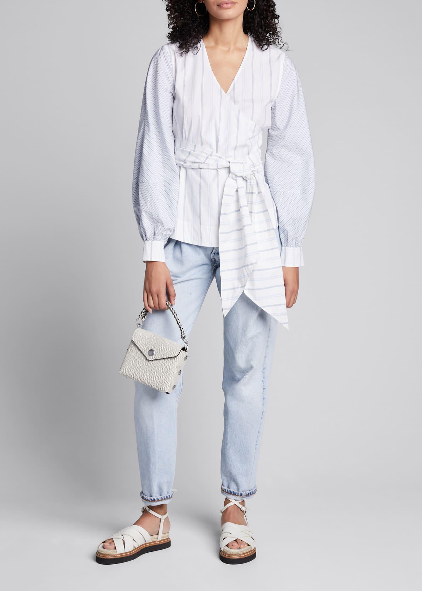 Ganni Striped Shirting Long-Sleeve Wrap Blouse