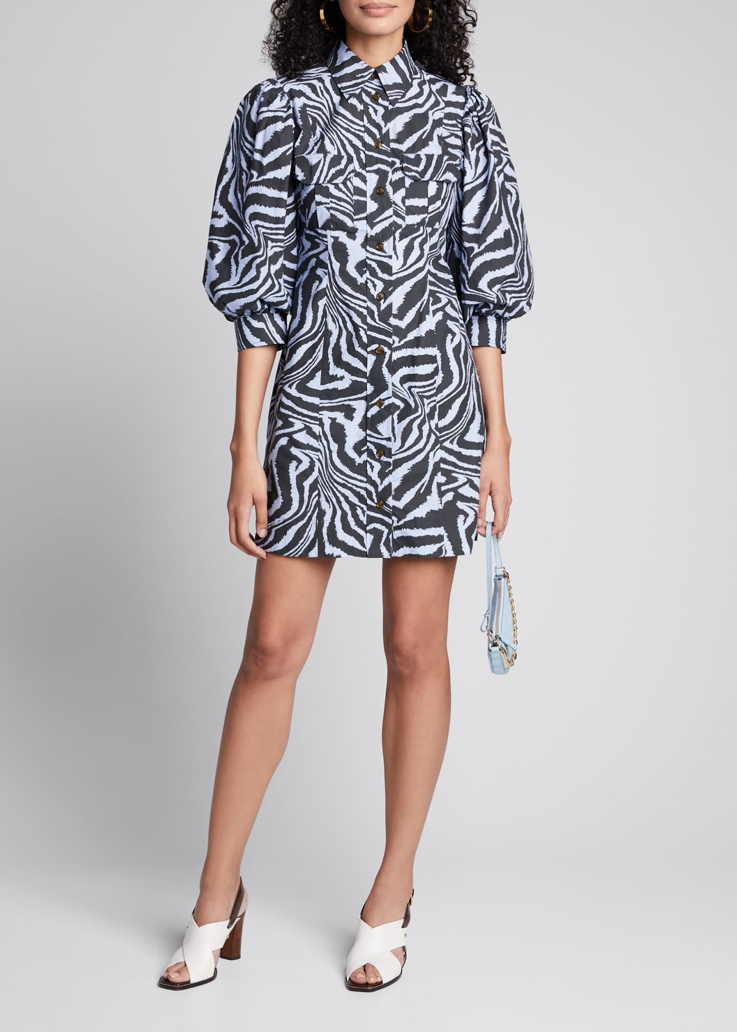 Ganni Printed Poplin Puff-Sleeve Shirt Dress
