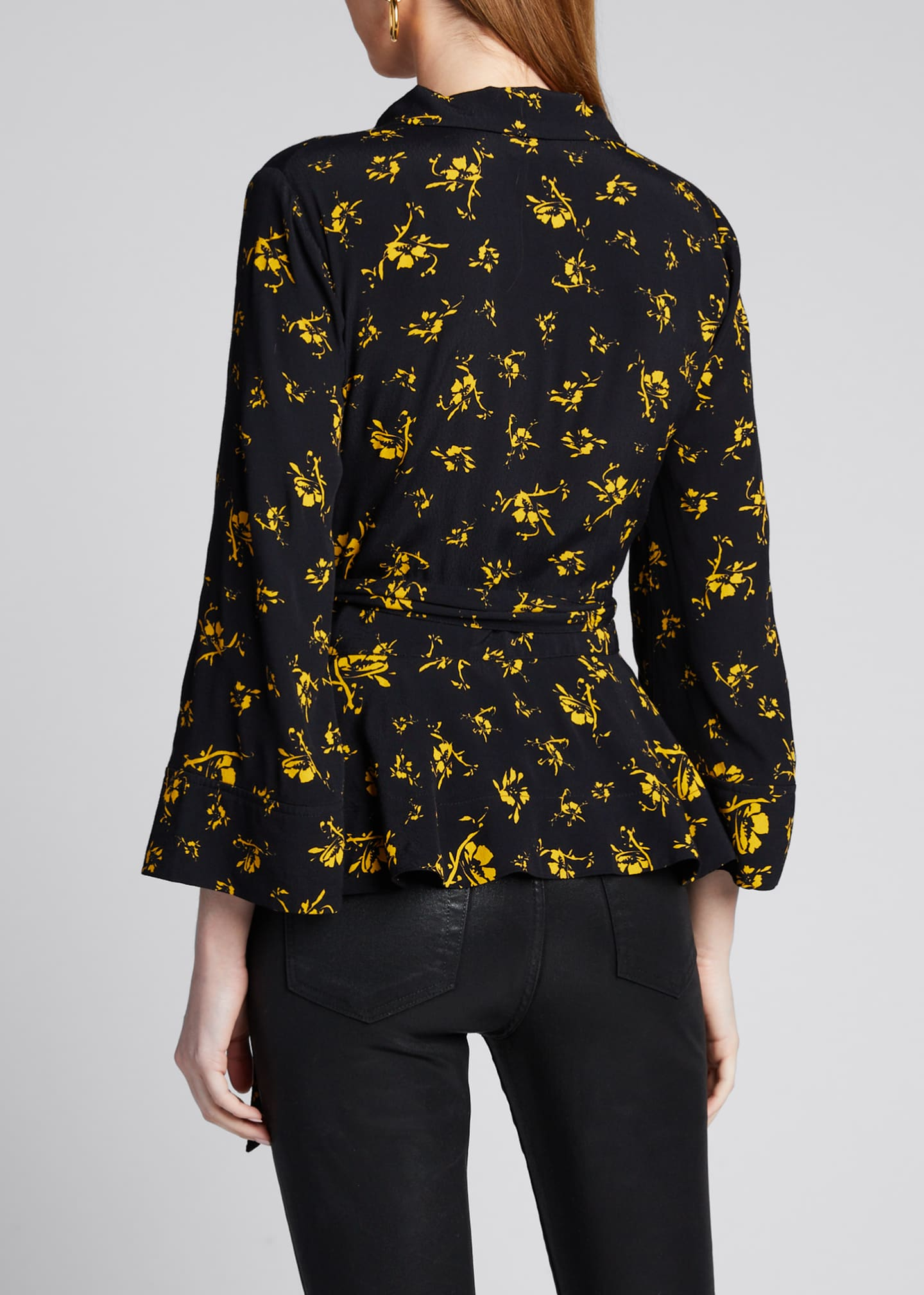 Image 2 of 5: Printed Crepe Wrap Blouse