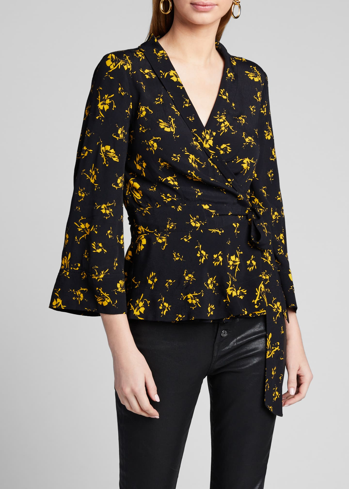 Image 3 of 5: Printed Crepe Wrap Blouse