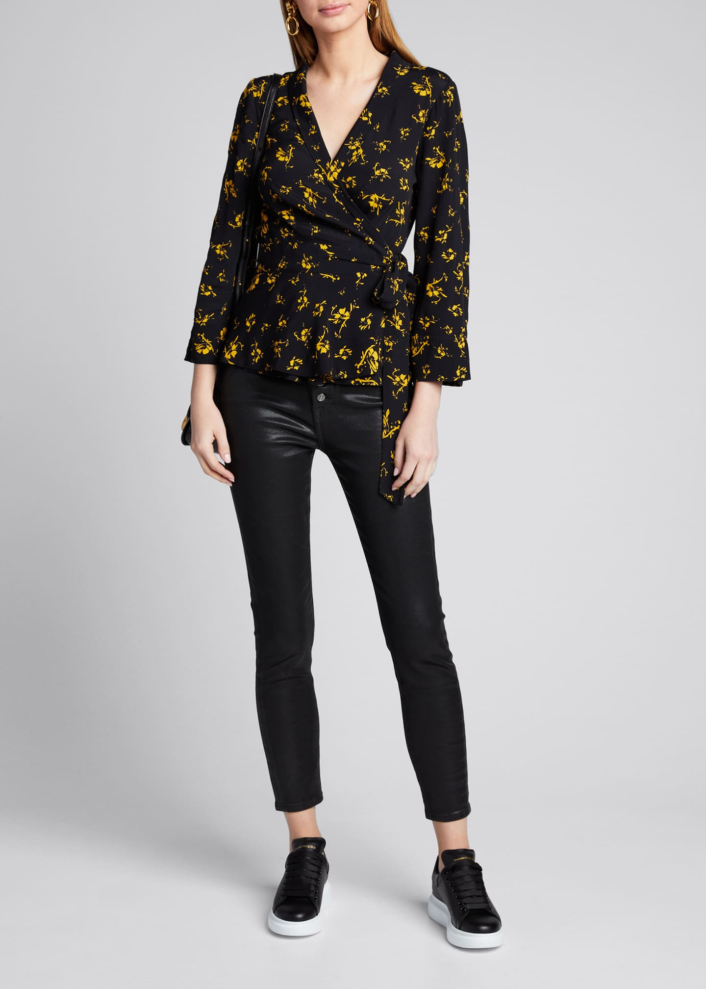 Image 1 of 5: Printed Crepe Wrap Blouse