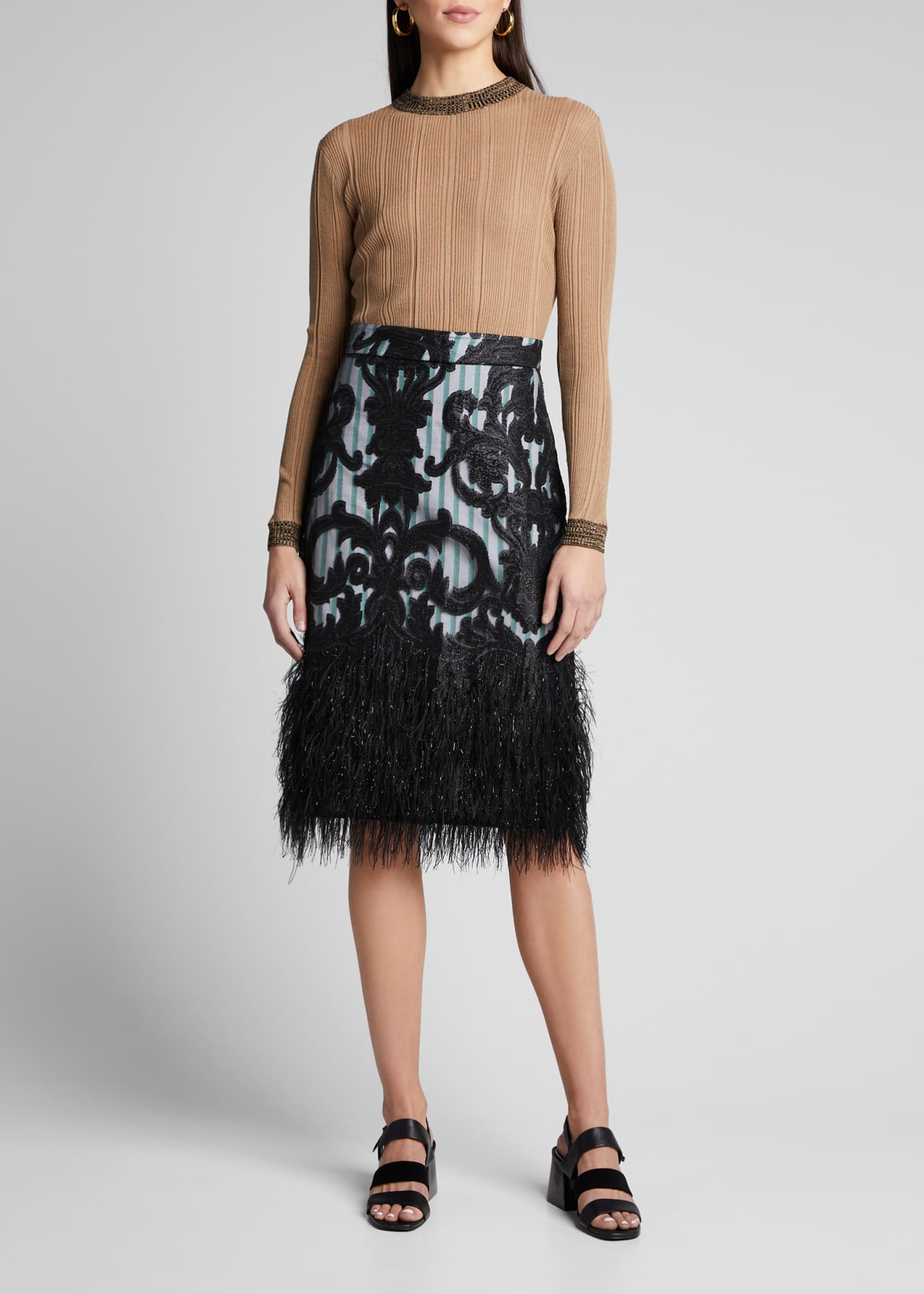 Ganni High-Rise Poplin Skirt with Feathery Mesh Overlay