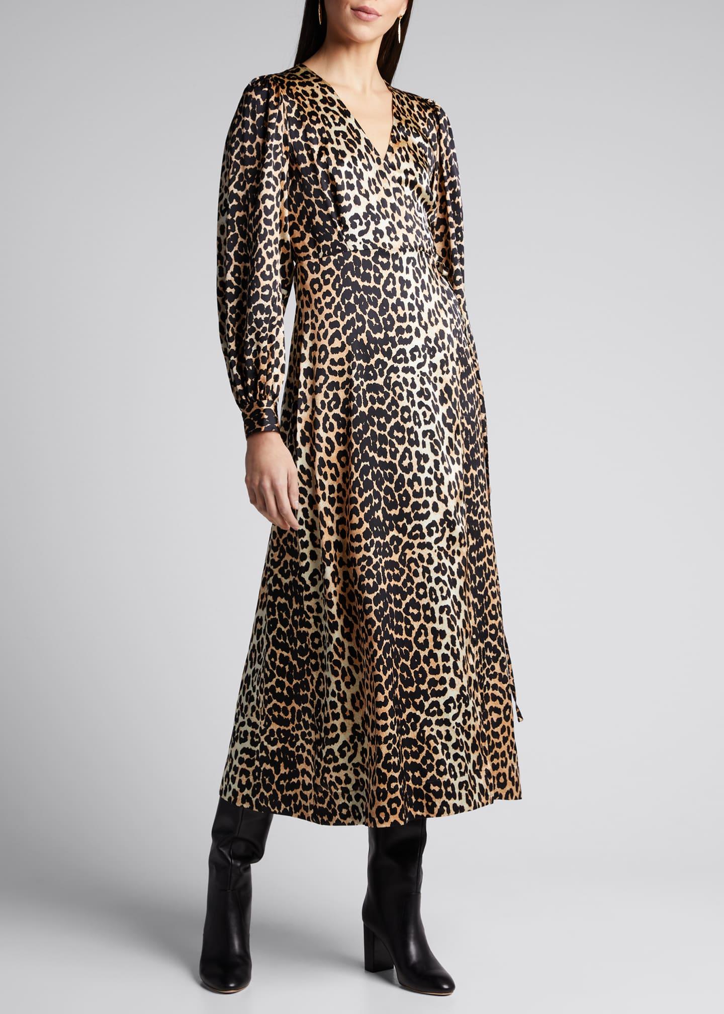 Ganni Stretch Satin Leopard-Print Wrap Dress