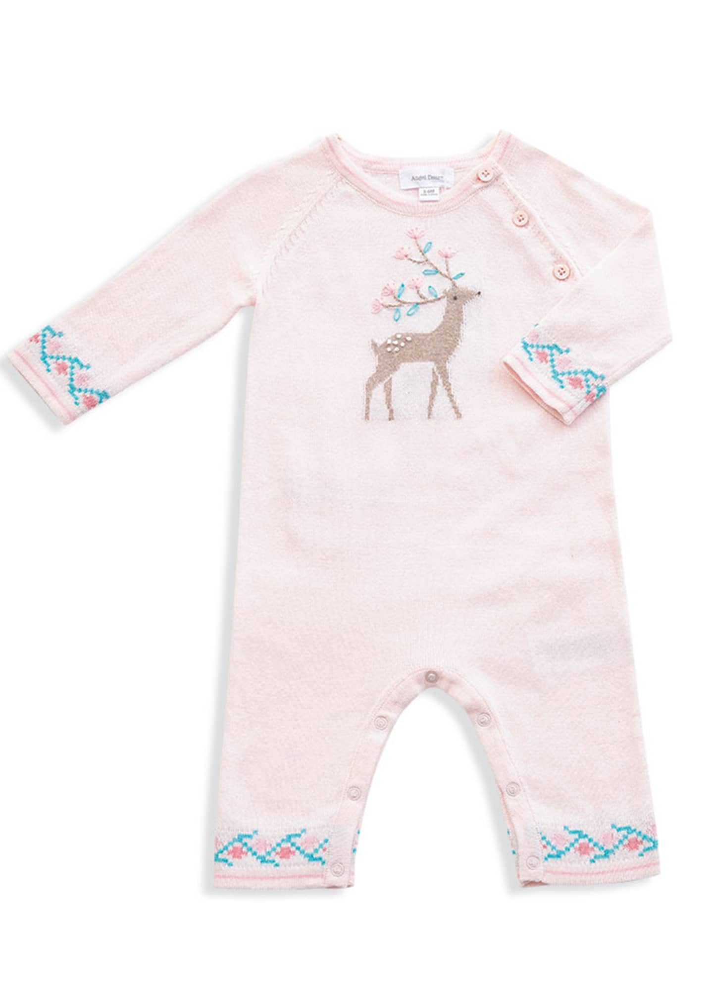 Angel Dear Deer Intarsia Cotton Coverall, Size 0-12