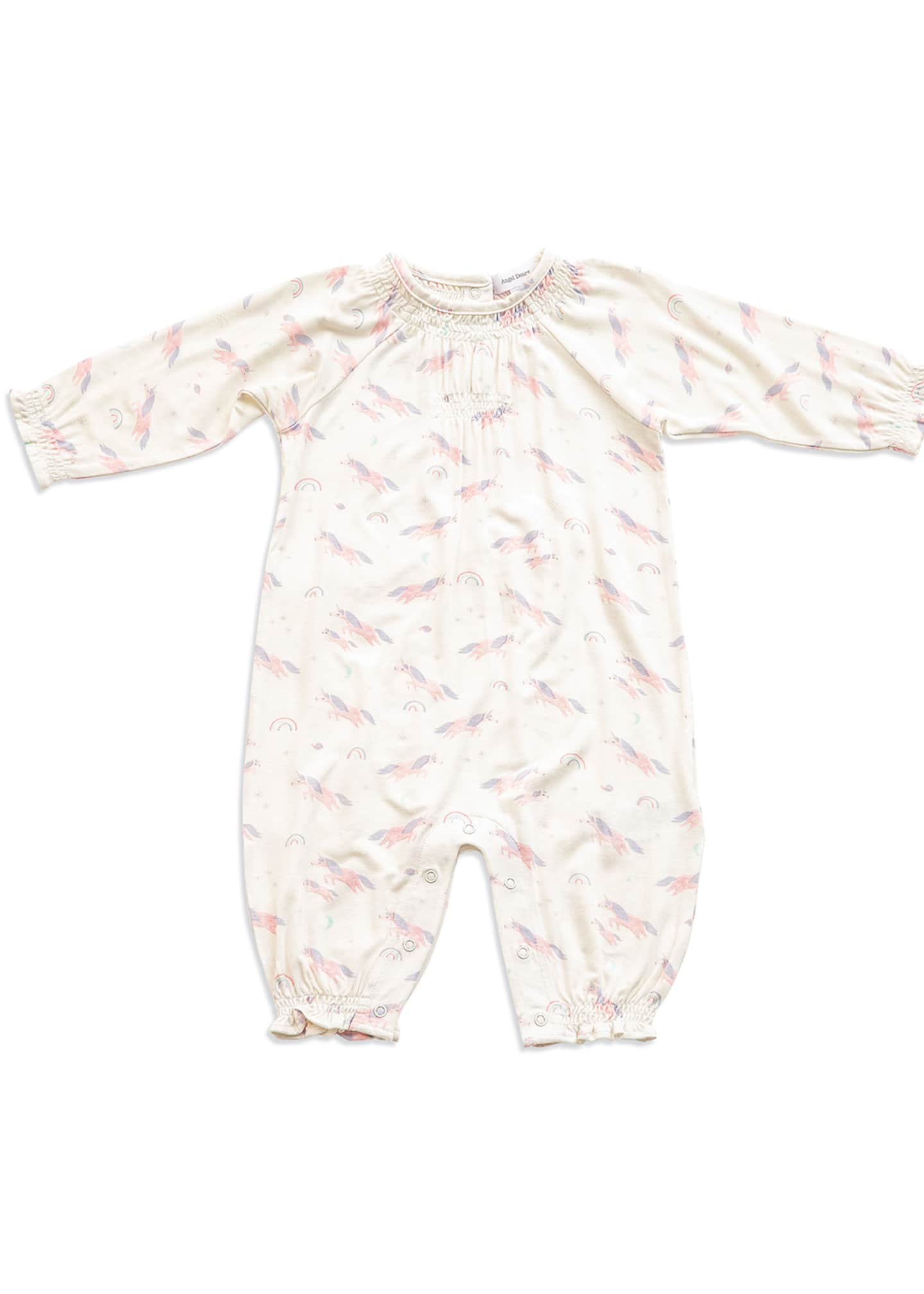 Angel Dear Cosmic Unicorn Printed Smocked Coverall, Size