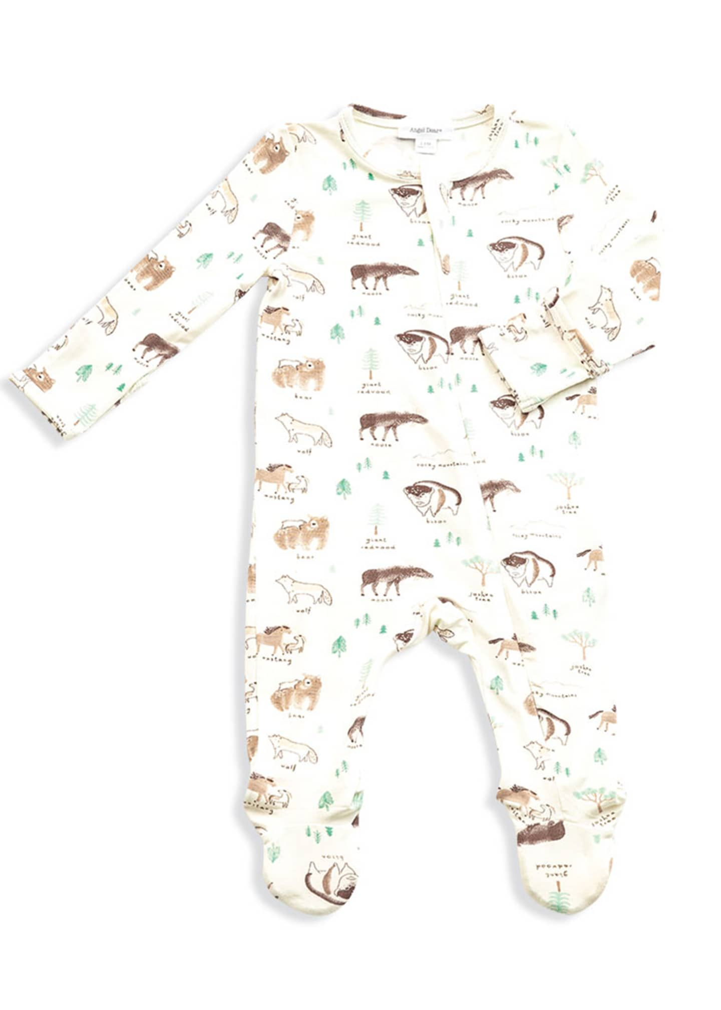 Angel Dear West Wild Print Zipper Footie Pajamas,