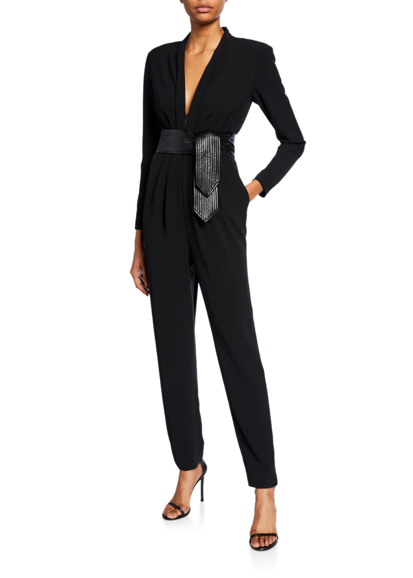 A.L.C. Kieran II Crepe Jumpsuit w/ Leather Belt