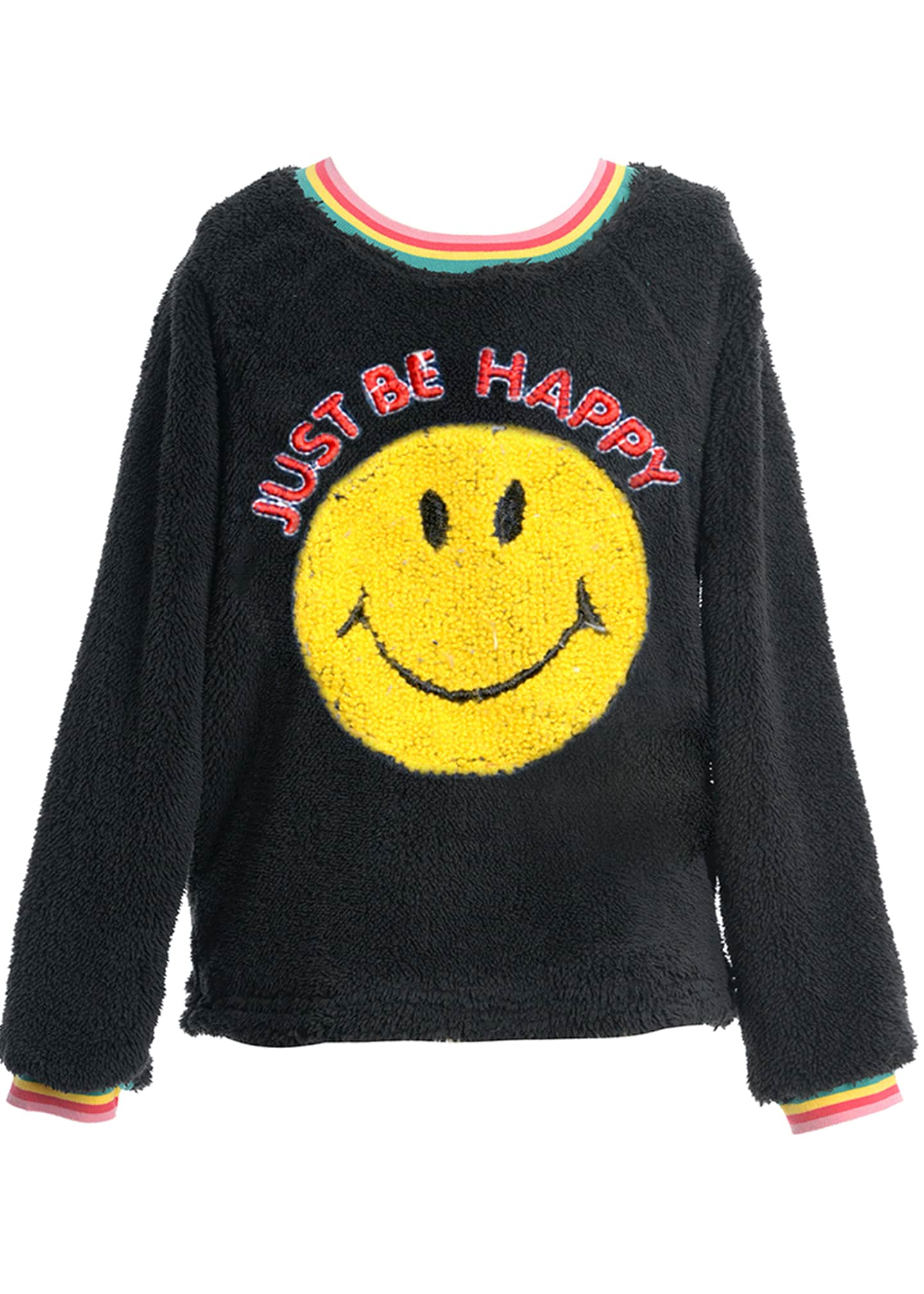 Hannah Banana Girl's Faux Sherpa Smiley Face Top,