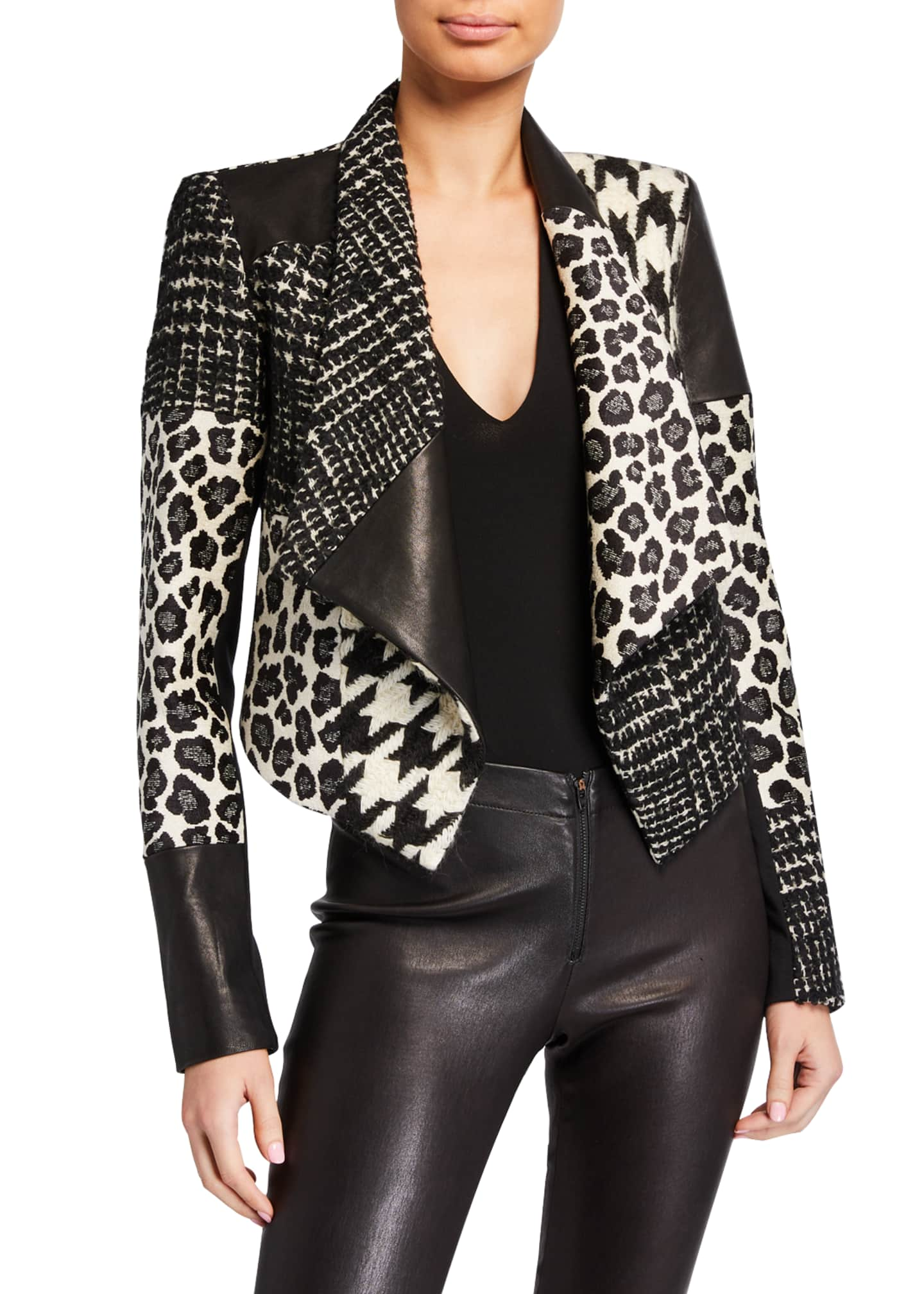 Alice + Olivia Harvet Patchwork Draped Jacket