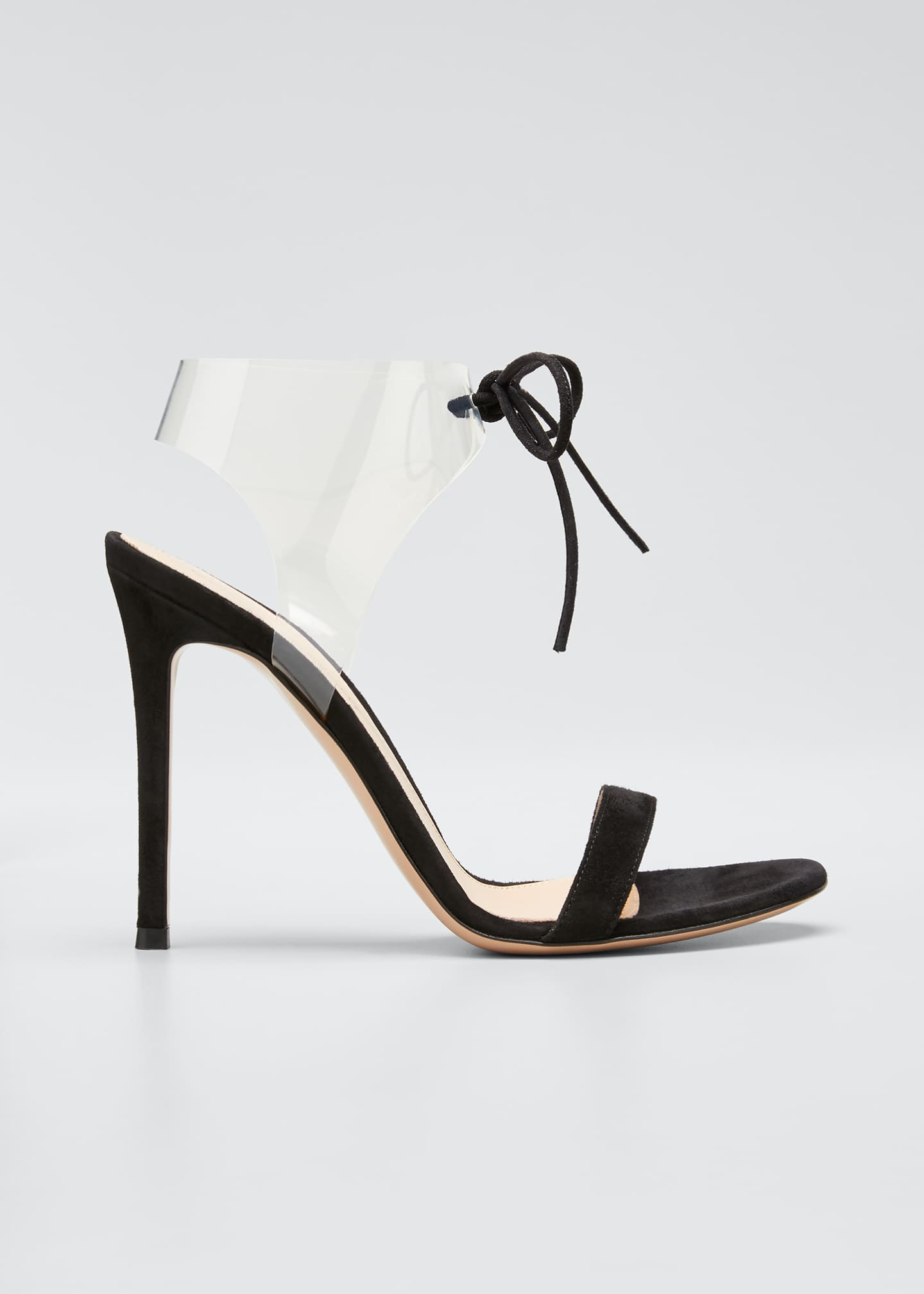 Image 1 of 5: Suede Sandals with Plexi Strap