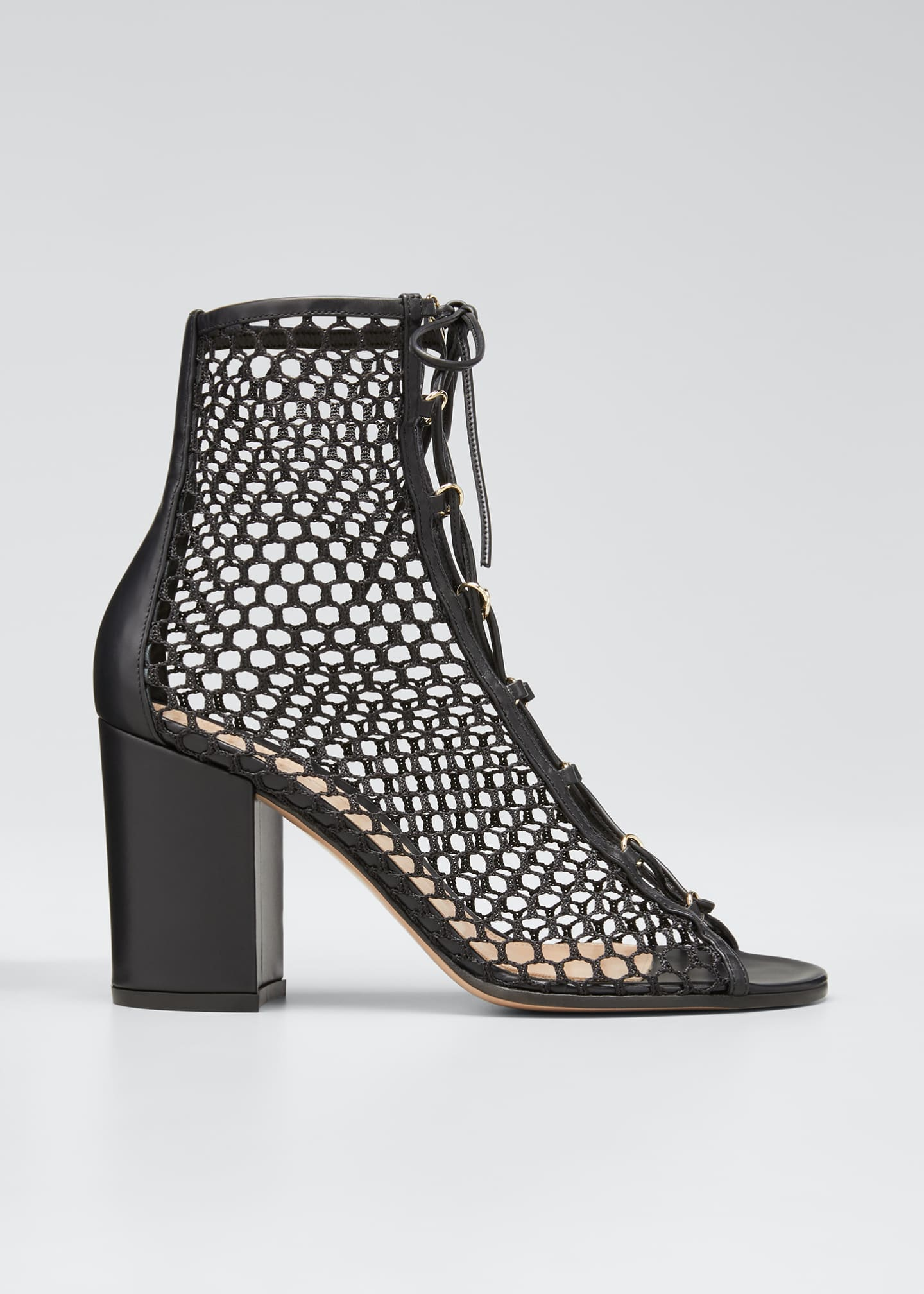Image 1 of 4: Fishnet Lace-Up Booties