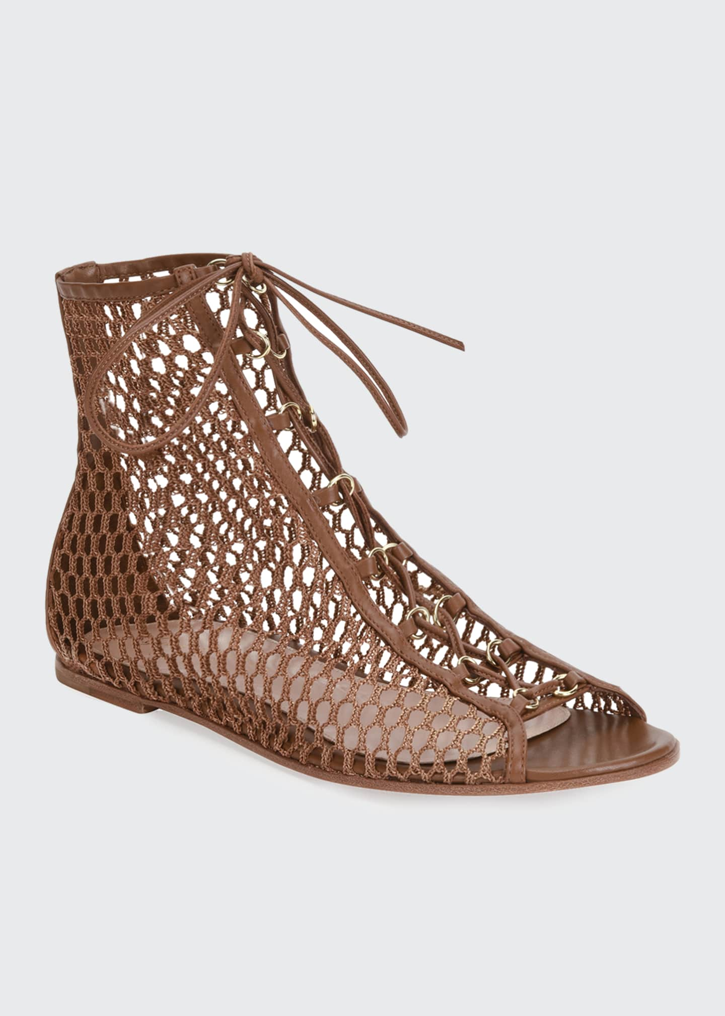 Image 2 of 4: Flat Fishnet Lace-Up Booties