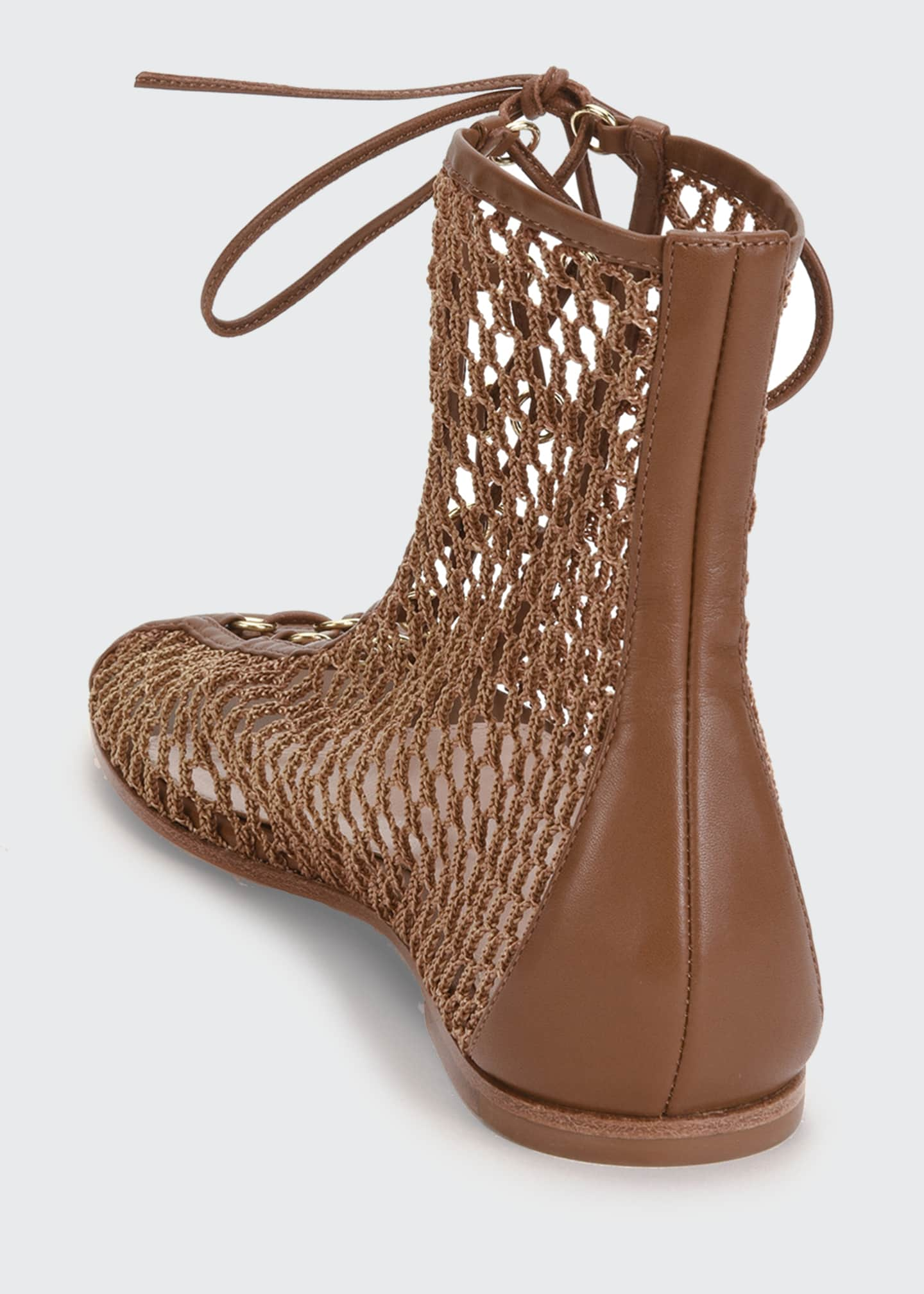 Image 3 of 4: Flat Fishnet Lace-Up Booties