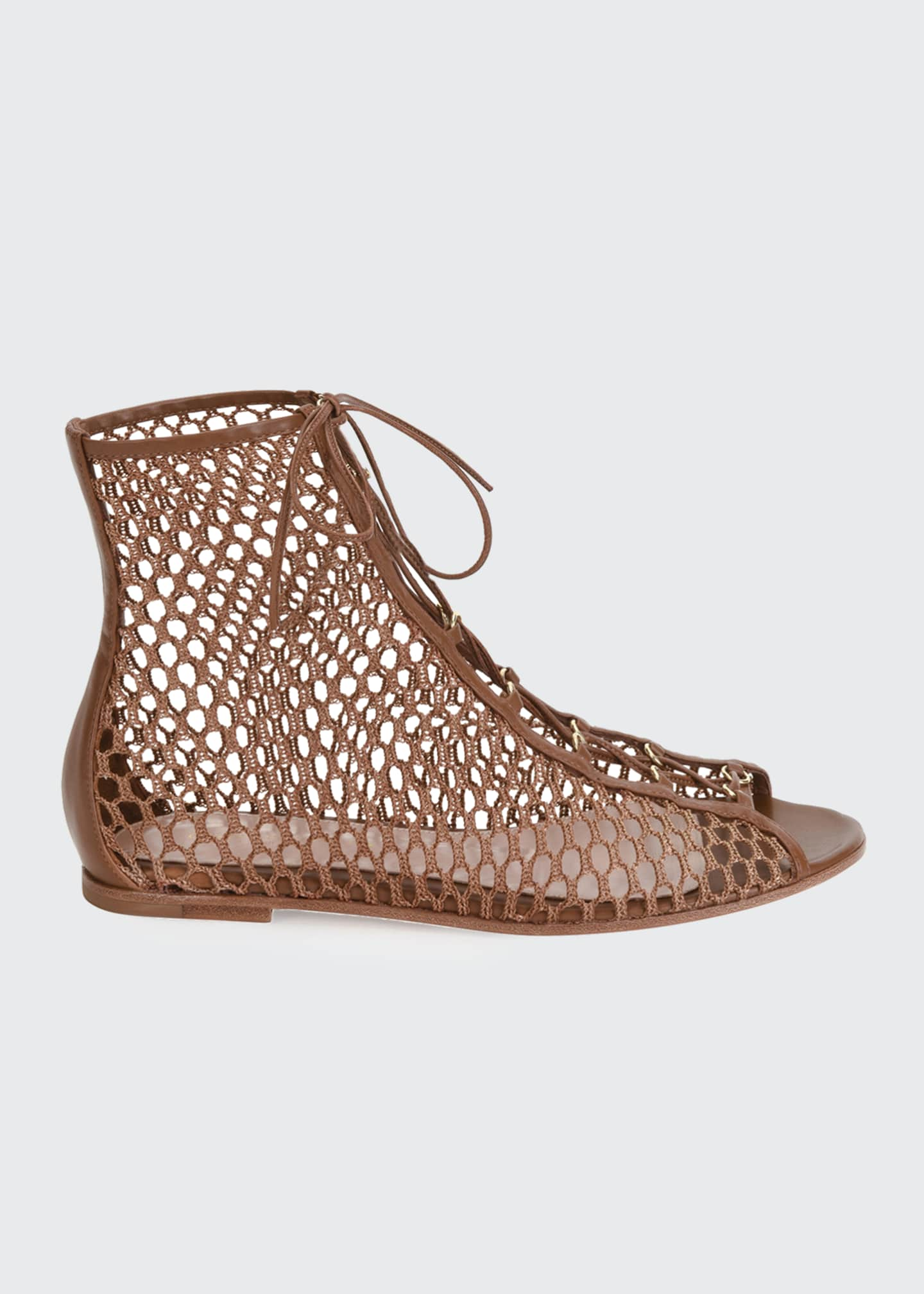 Image 1 of 4: Flat Fishnet Lace-Up Booties