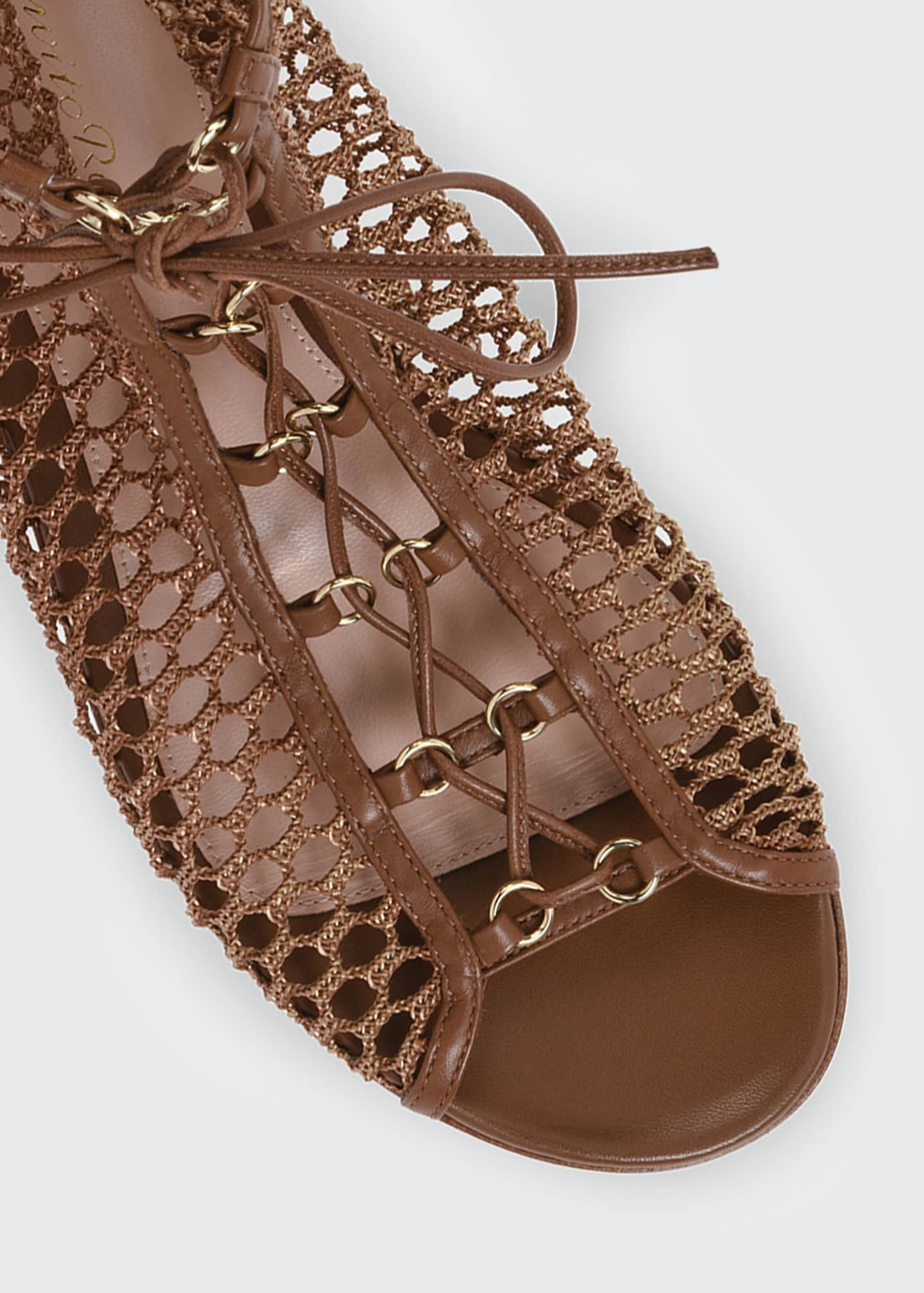Image 4 of 4: Flat Fishnet Lace-Up Booties