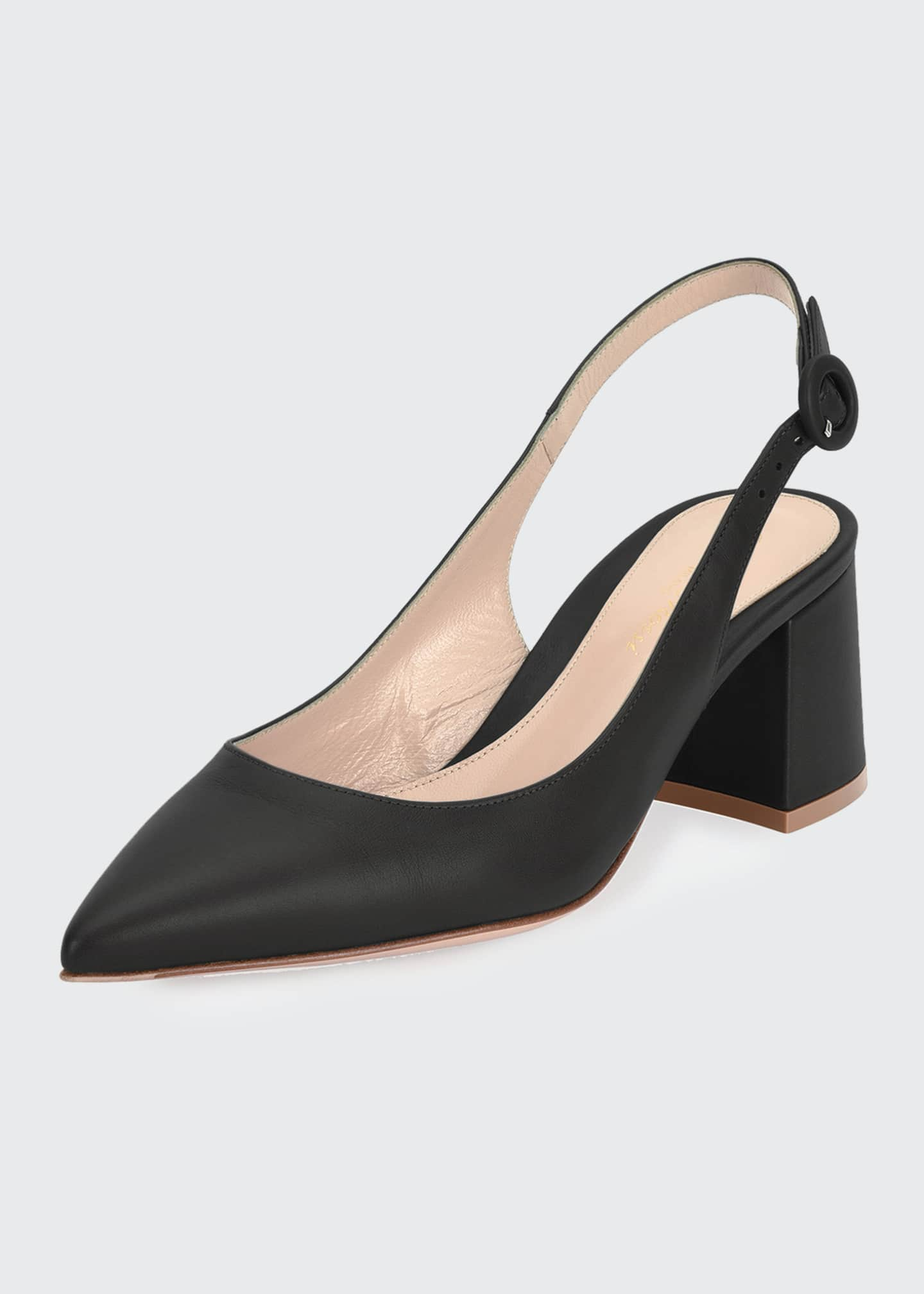 Image 2 of 4: Leather Block-Heel Point-Toe Slingback Pumps