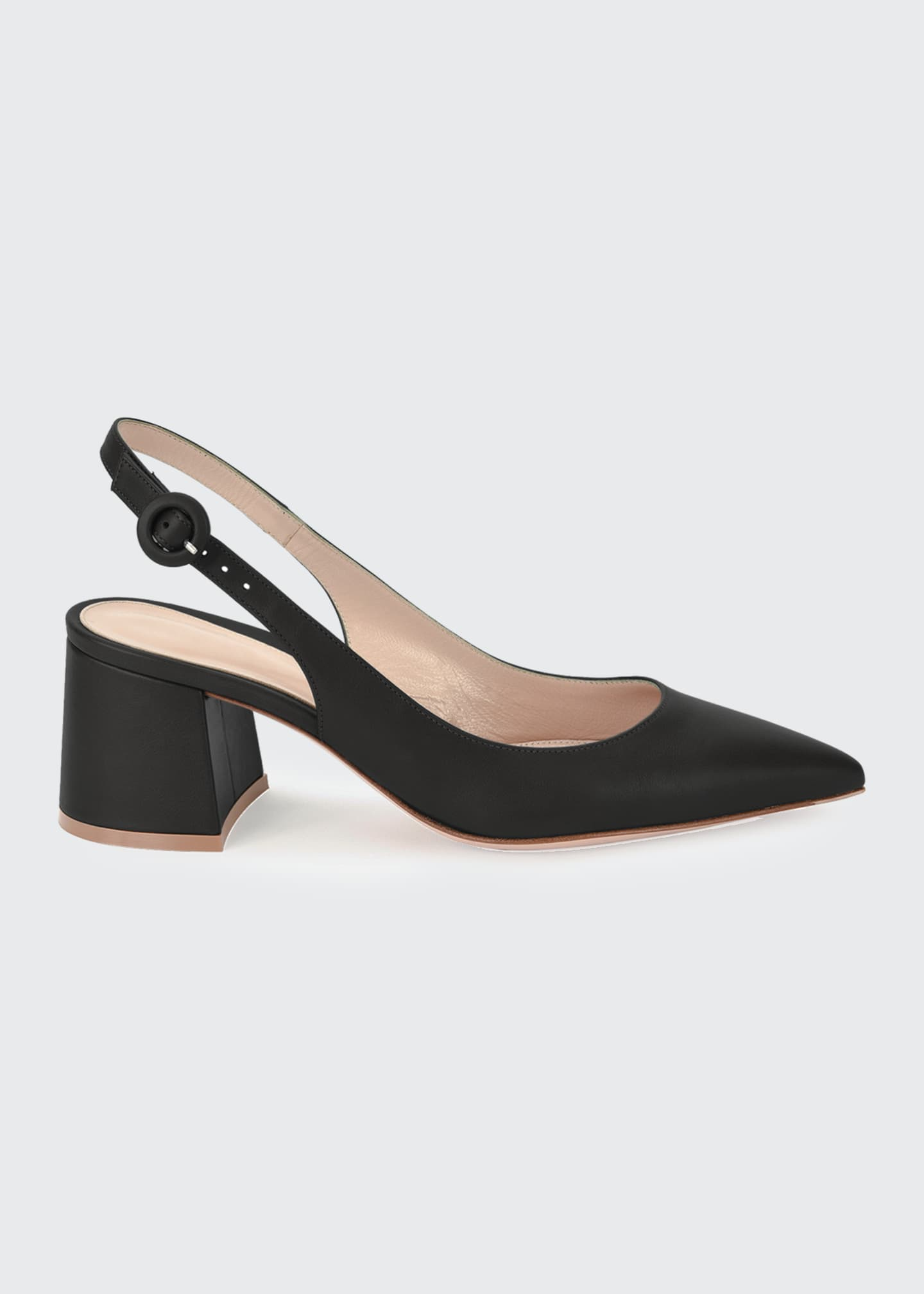 Image 1 of 4: Leather Block-Heel Point-Toe Slingback Pumps