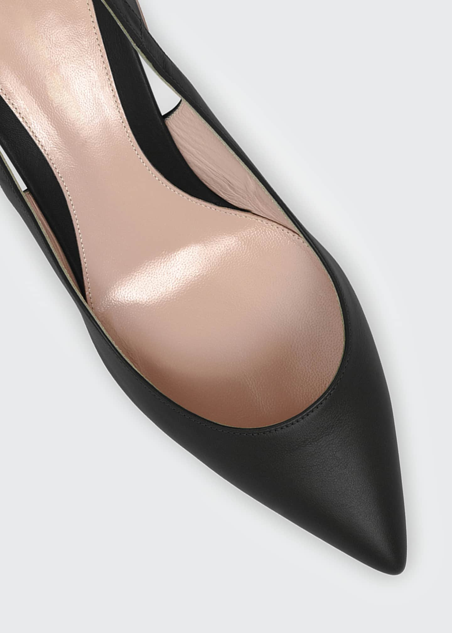Image 4 of 4: Leather Block-Heel Point-Toe Slingback Pumps