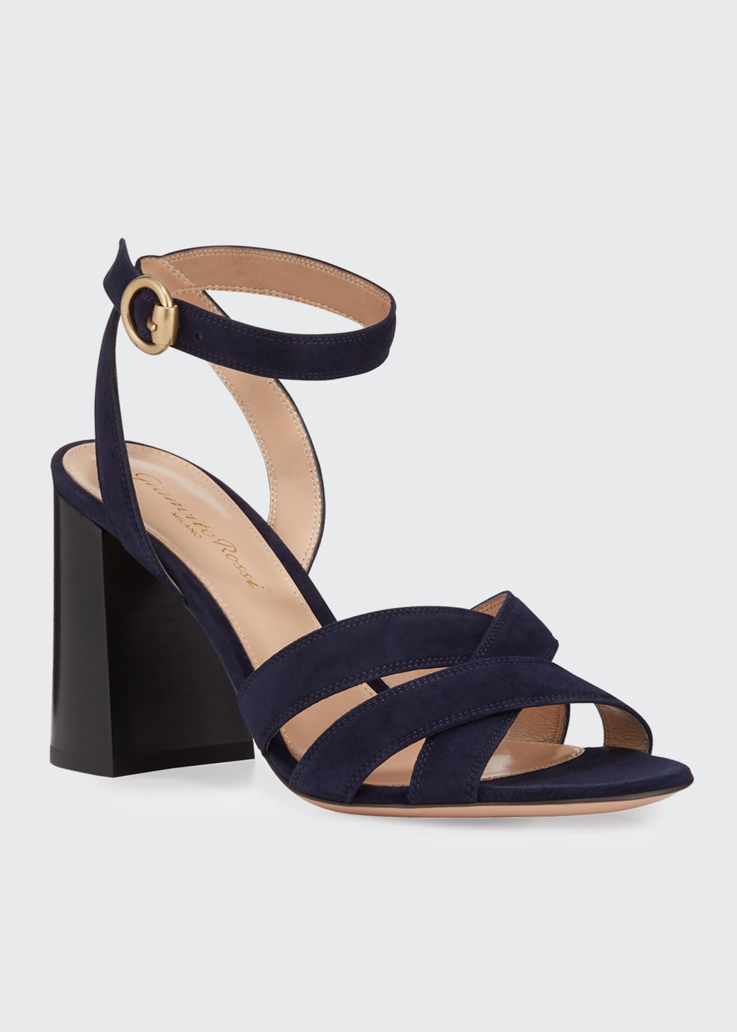 Image 2 of 3: Crisscross Chunky Ankle-Wrap Sandals