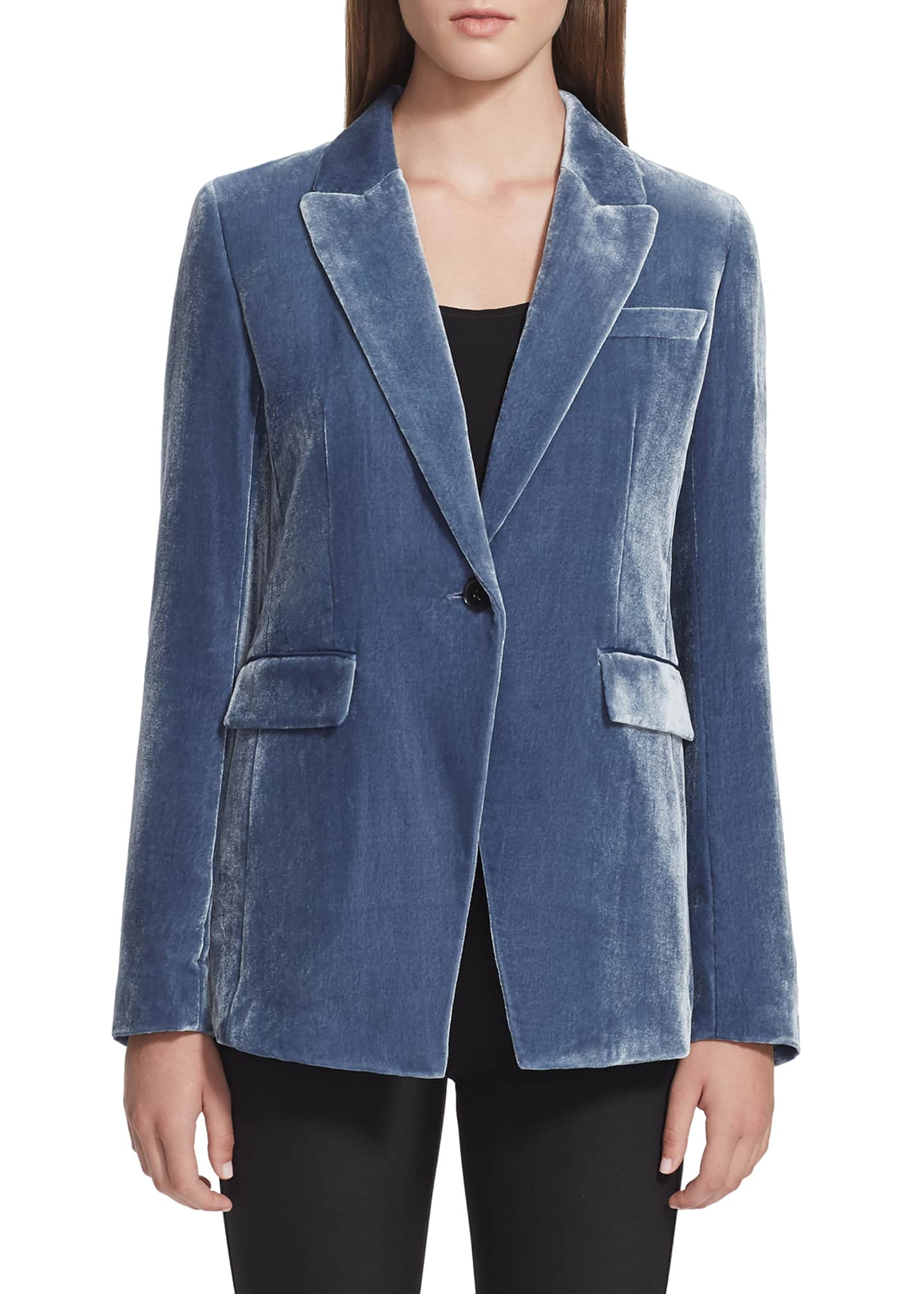 Lafayette 148 New York Heather One-Button Velvet Jacket