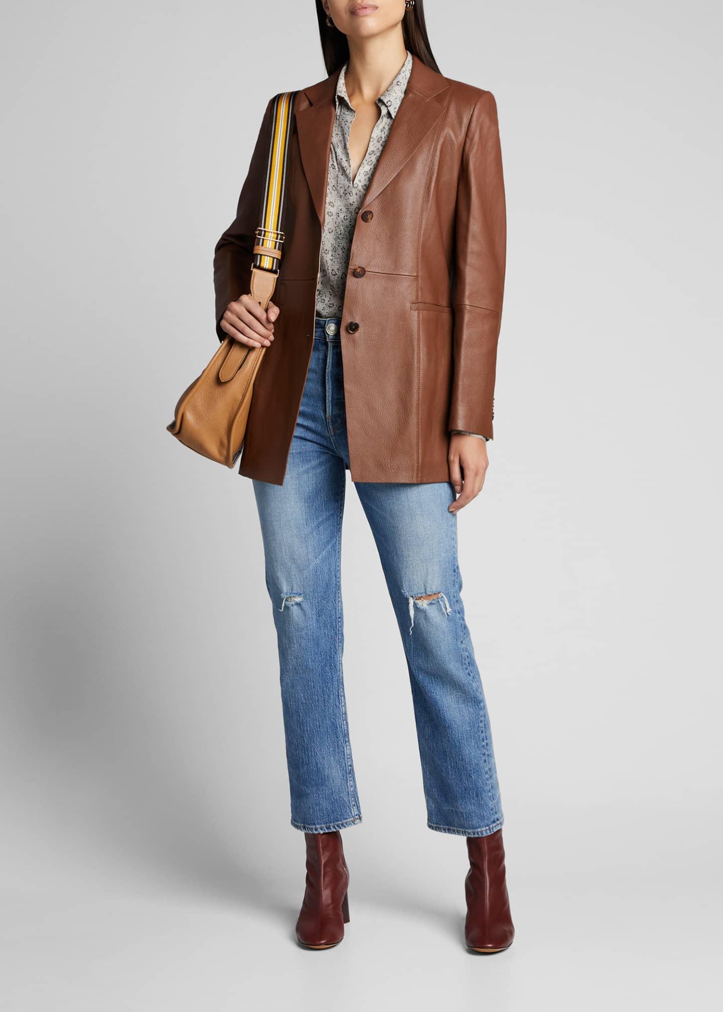Lafayette 148 New York Jaqueline Lambskin Leather Blazer