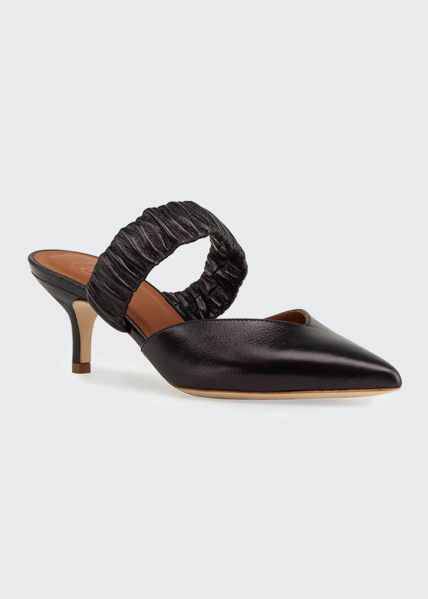 Image 2 of 4: Matilda Metallic Leather Ruched-Strap Mules