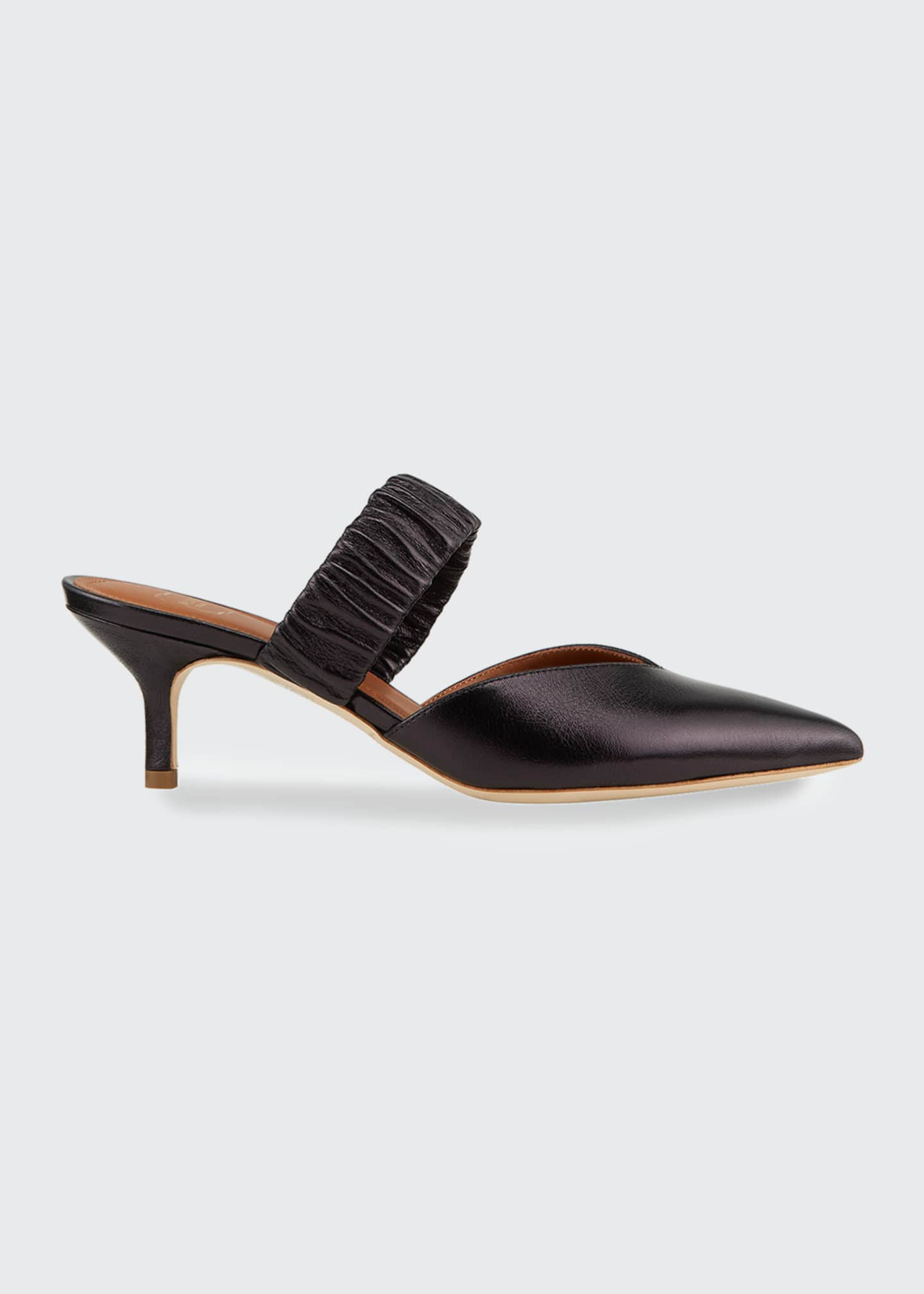 Image 1 of 4: Matilda Metallic Leather Ruched-Strap Mules